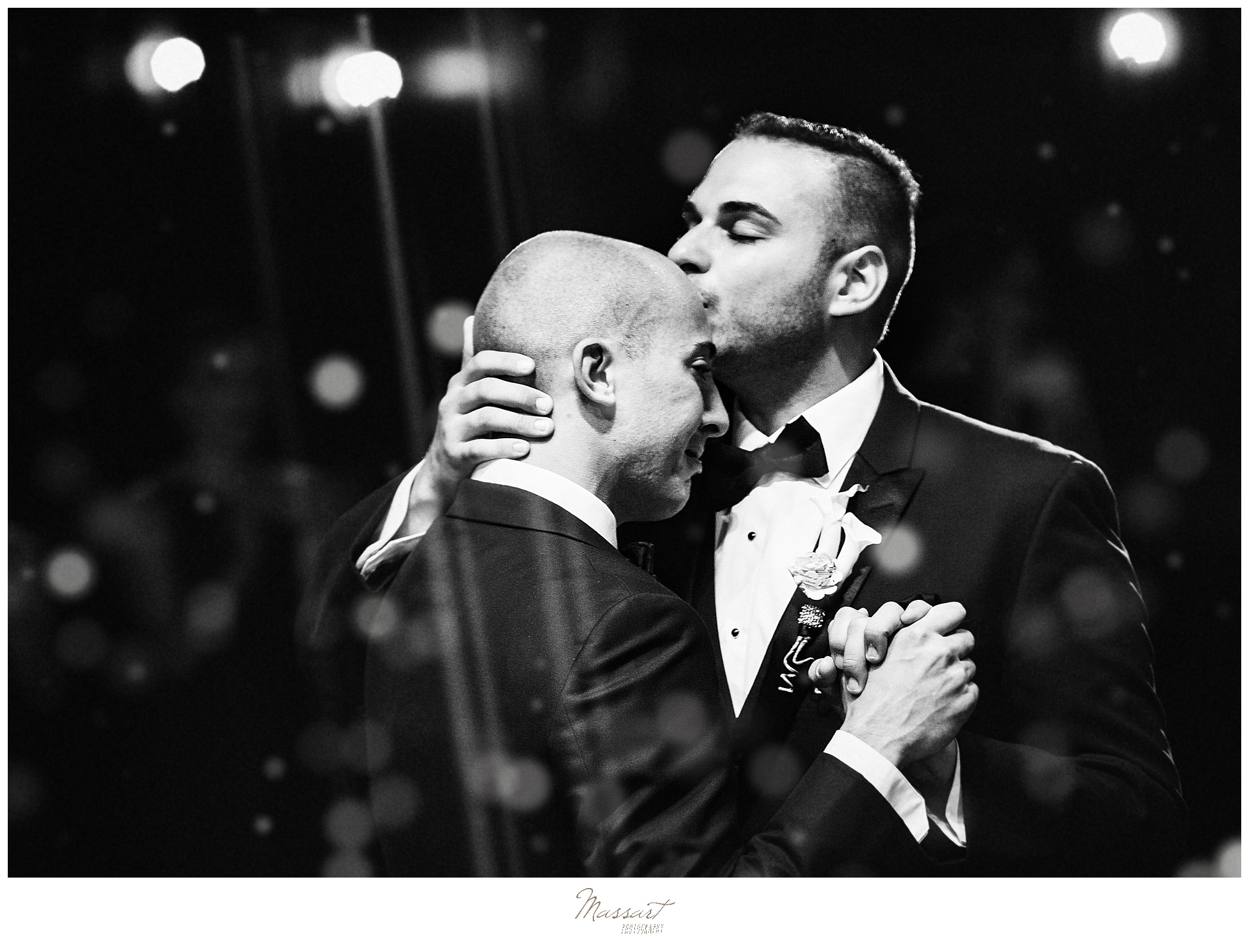 romantic first dance between husbands photographed by CT wedding photographers Massart Photography