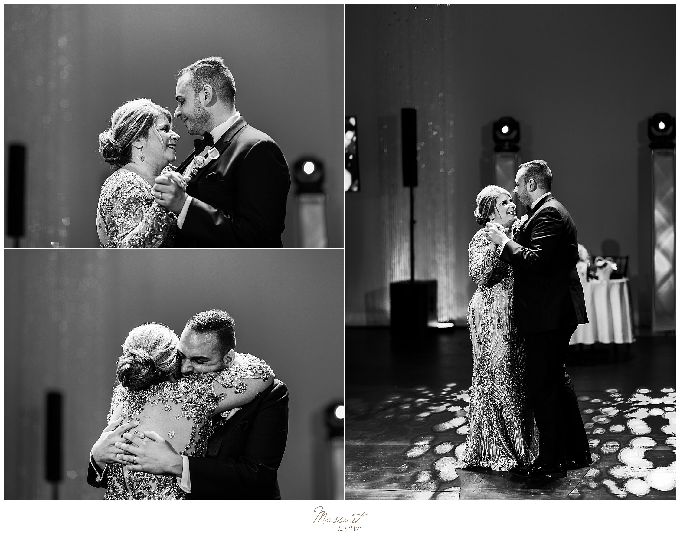 emotional mother-son dance at Palace Theater wedding photographed by wedding photographers Massart Photography