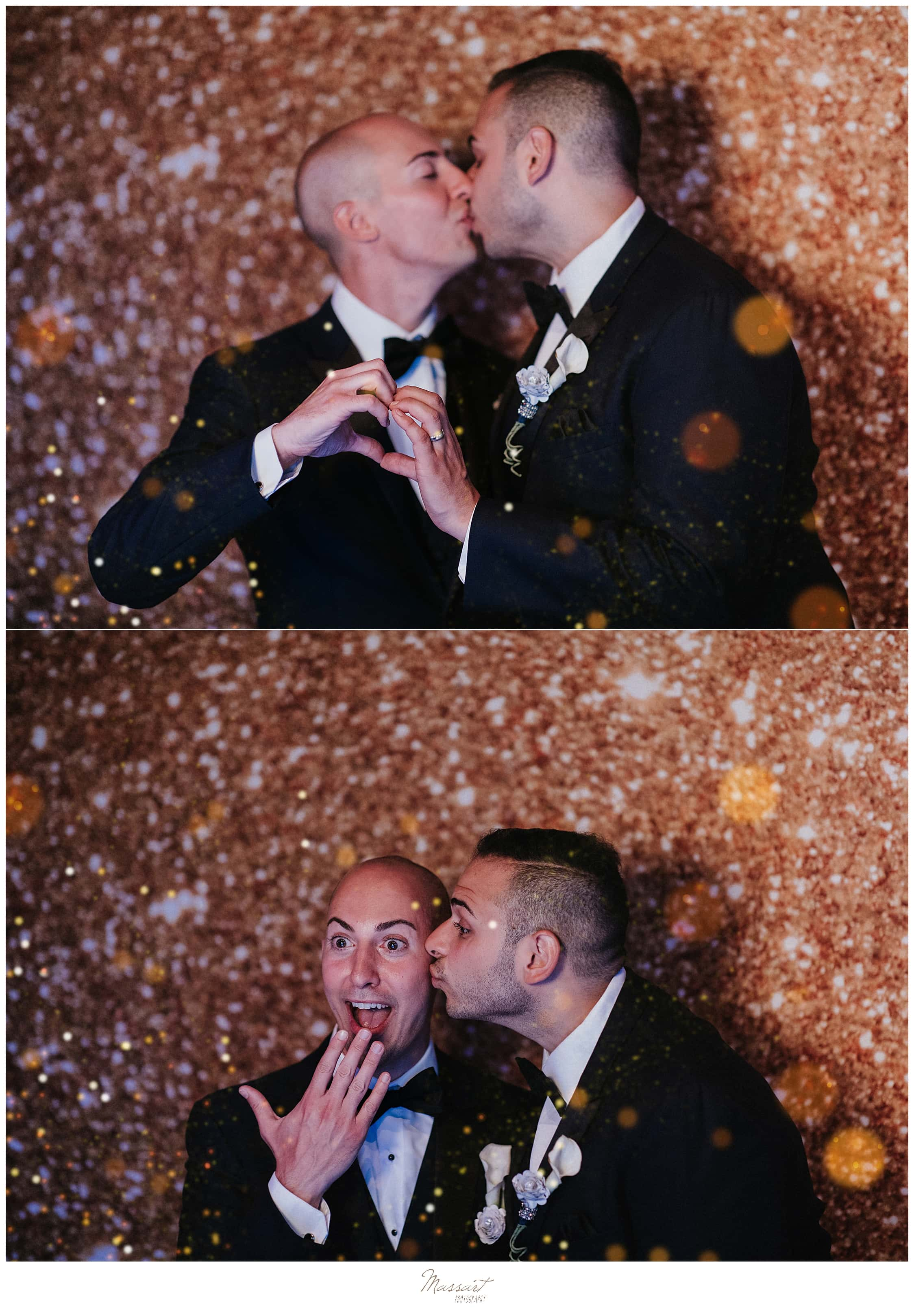 grooms in photo booth at CT wedding reception by wedding photographers Massart Photography
