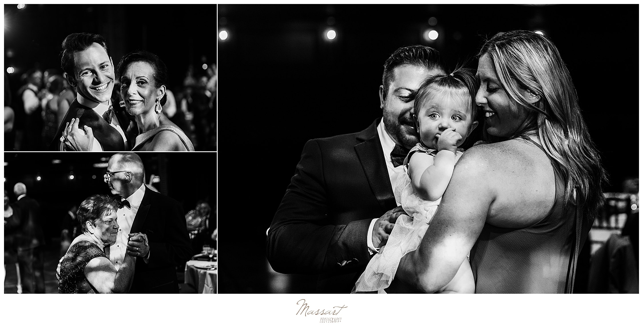 family enjoys dance floor photographed by CT wedding photographers Massart Photography