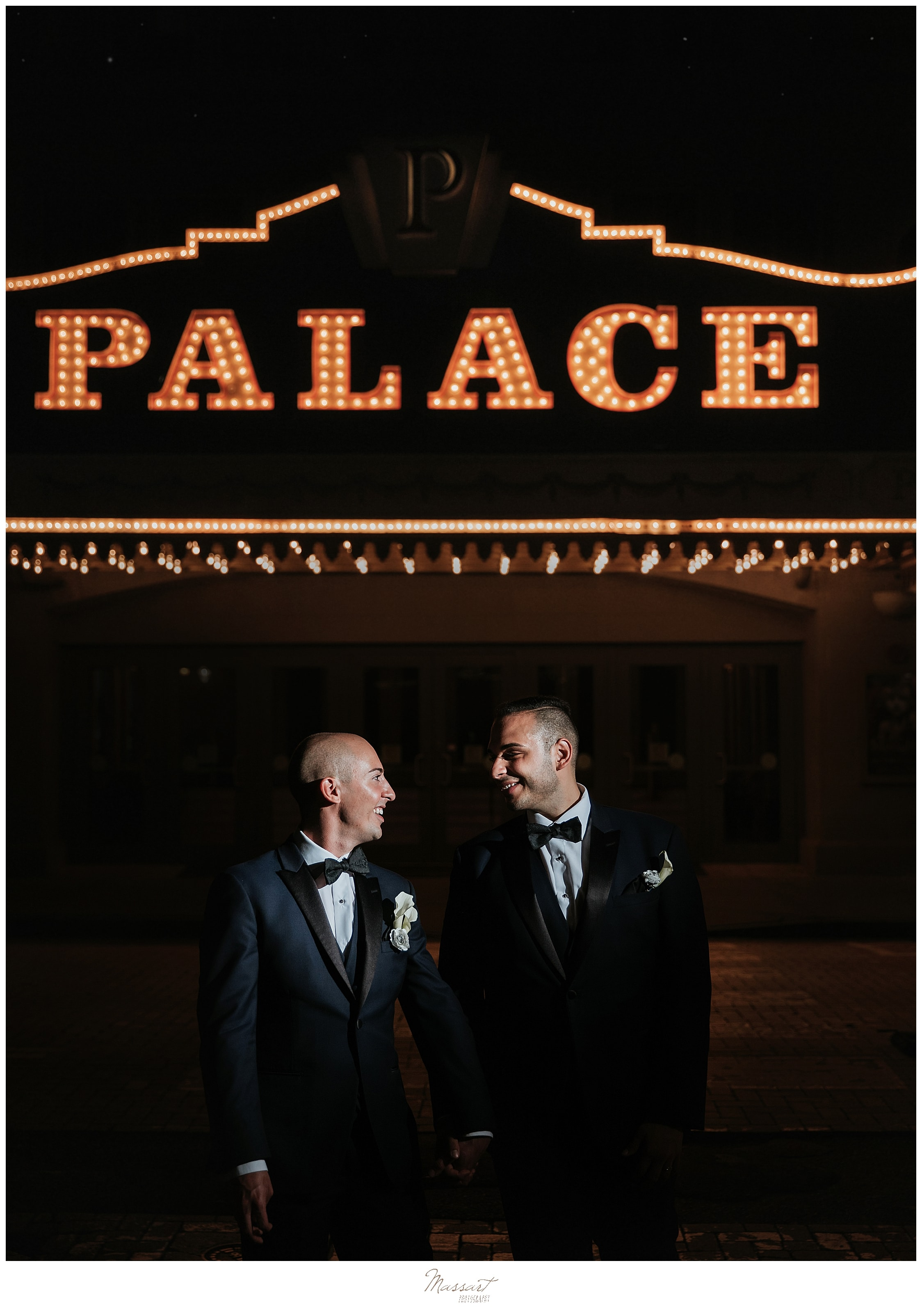 romantic and glamorous wedding portraits at the Palace Theater with wedding photographers Massart Photography