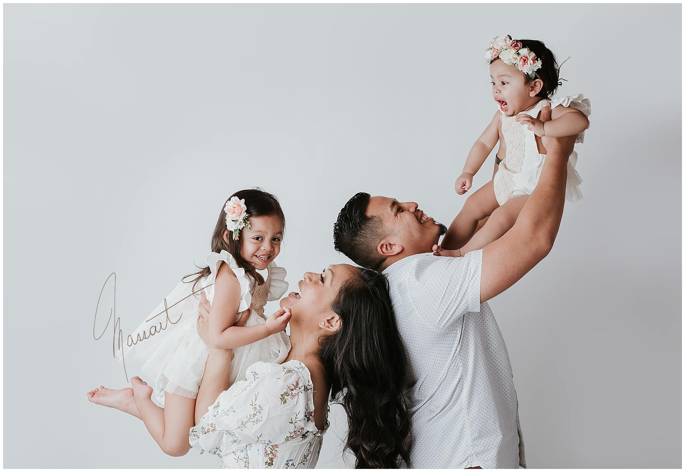 Family photo during a studio session with Massart Photography in RI