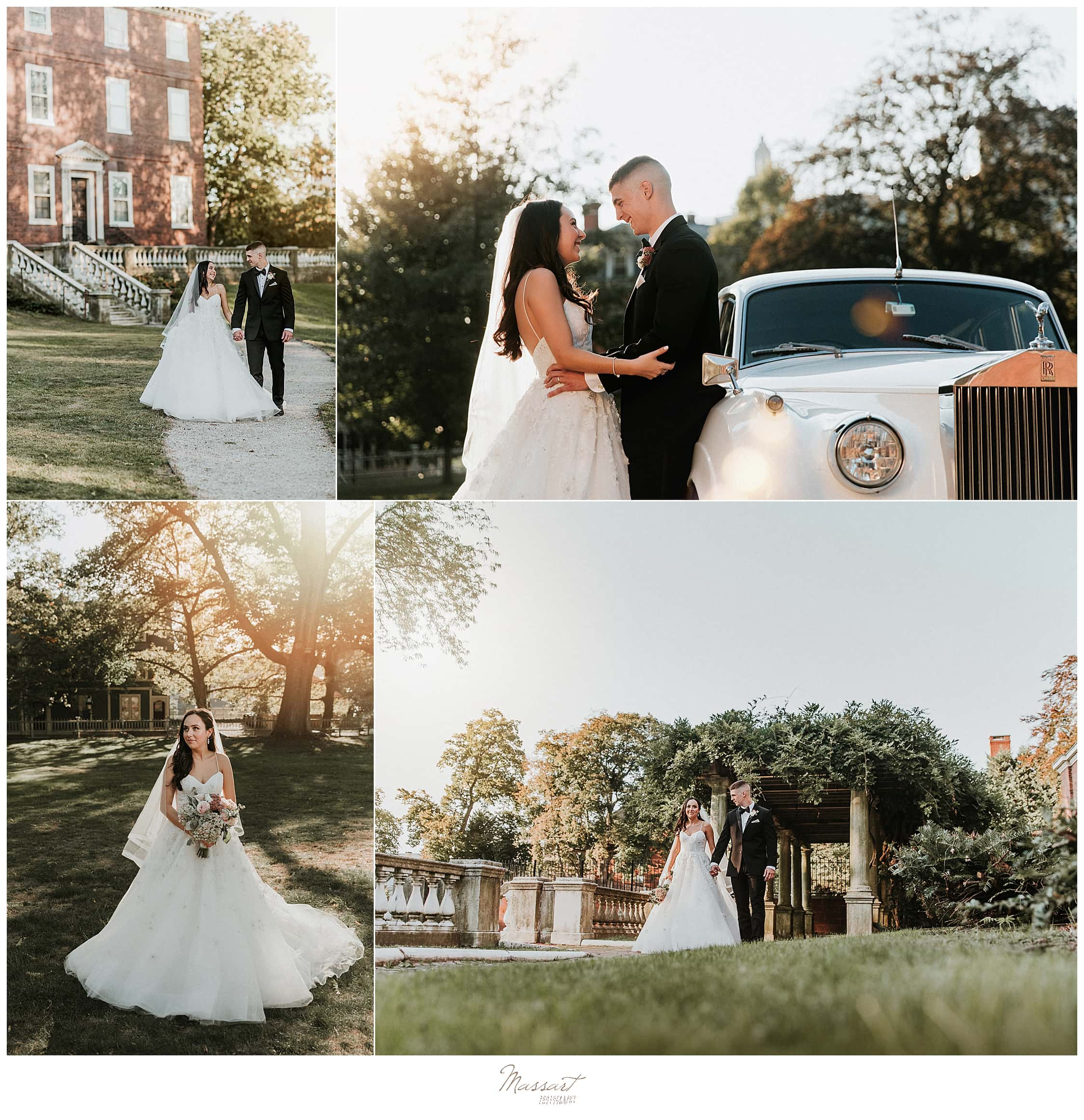Rhode Island wedding photos with vintage classic car photographed by wedding photographers Massart Photography