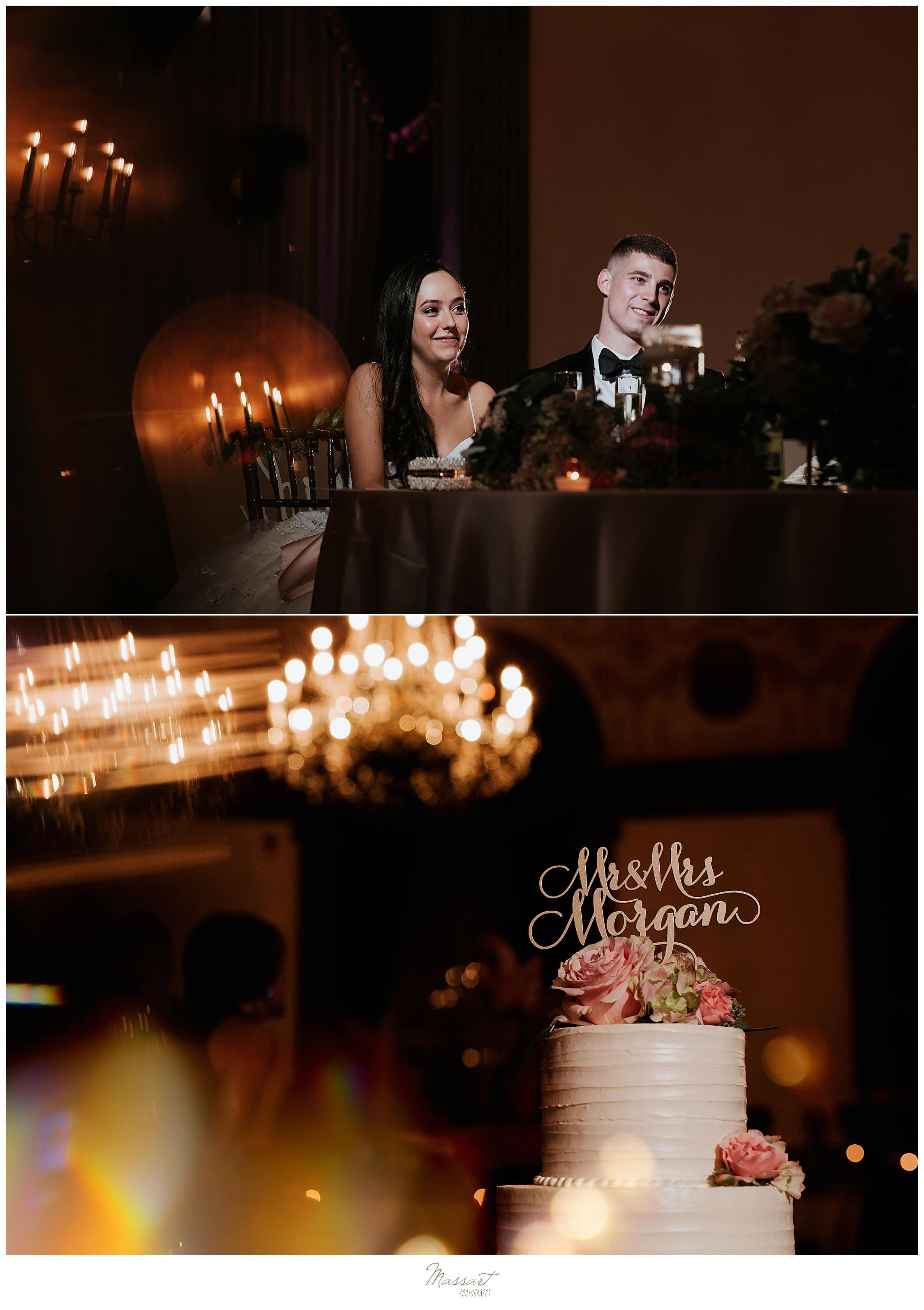 Classic Rhode Island wedding reception photographed by CT, MA, RI wedding photographers Massart Photography
