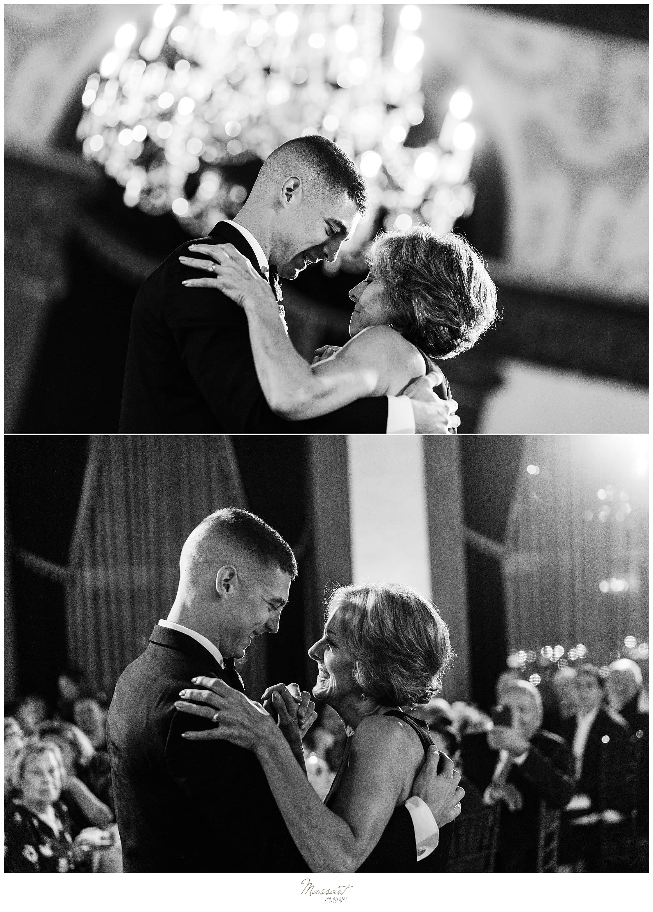 mother-son dances at Providence RI wedding photographed by wedding photographers Massart Photography