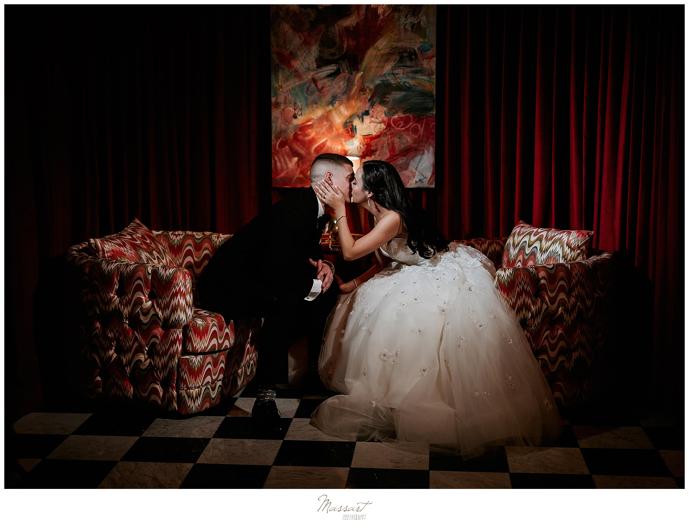 dramatic wedding portraits at Graduate Providence with wedding photographers Massart Photography