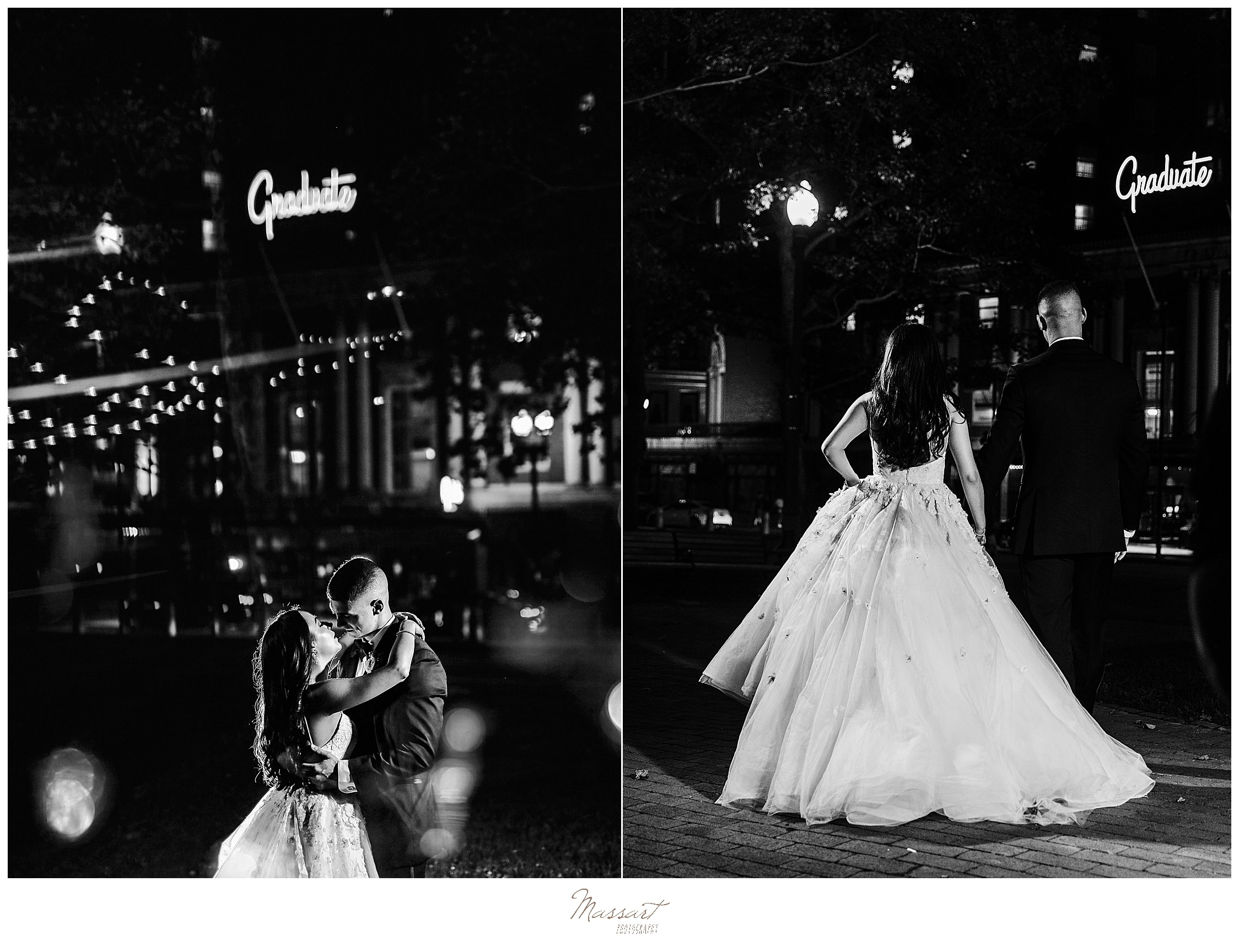 nighttime Graduate Providence wedding photos by wedding photographers Massart Photography