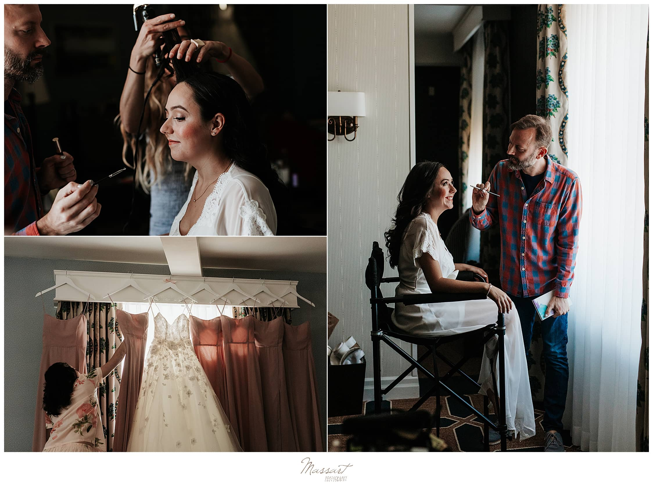 bride's makeup being done photographed by RI wedding photographers Massart Photography