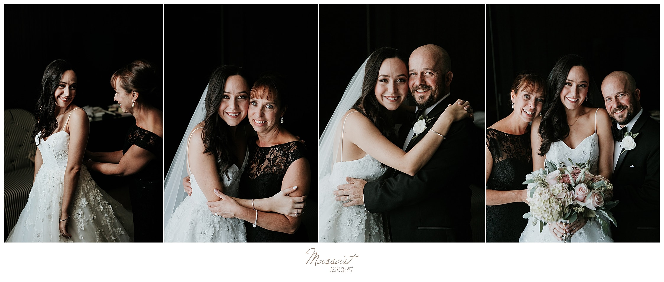 bride and family pose for RI wedding photographers Massart Photography