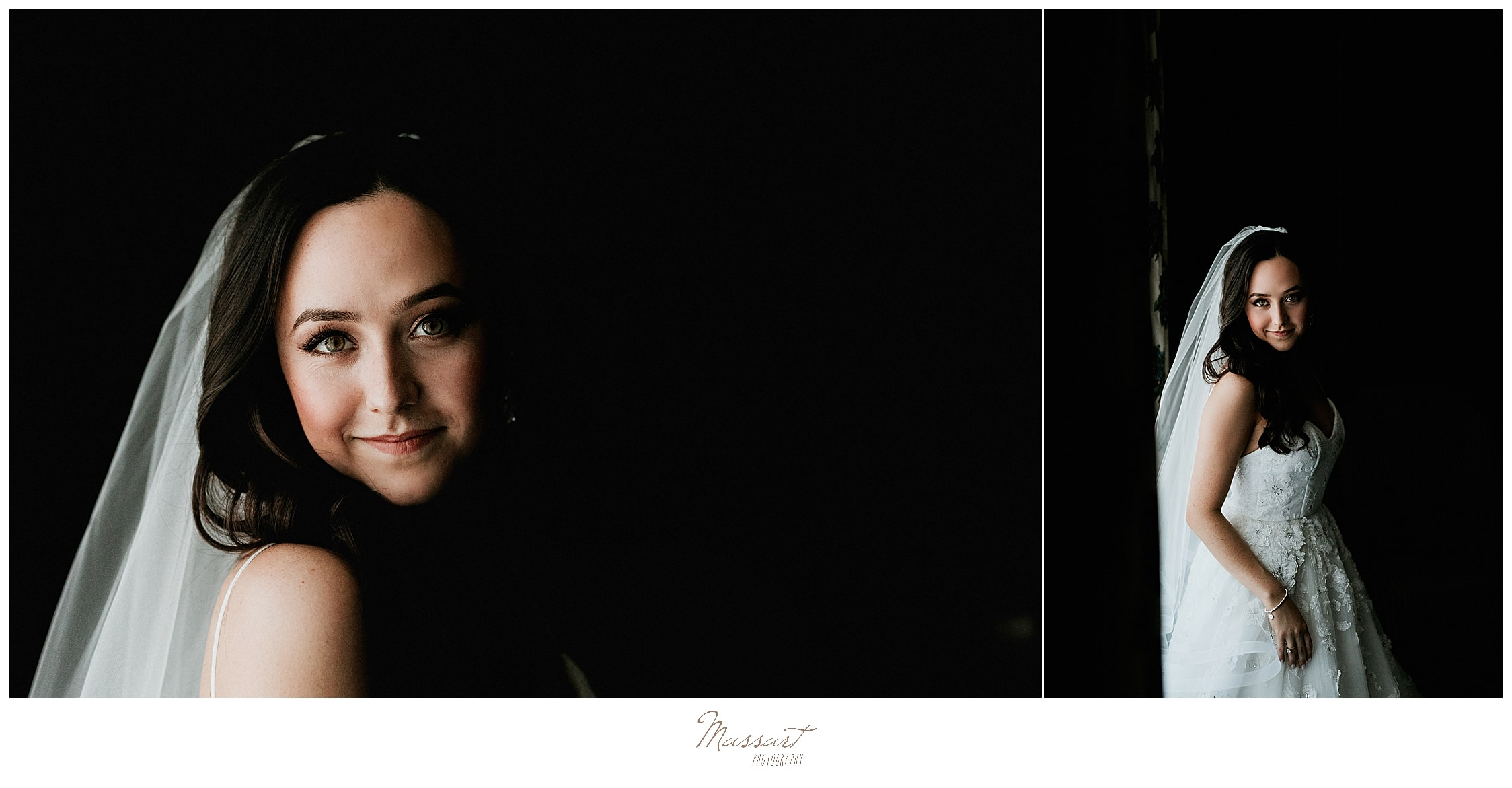 classic bridal portraits by RI wedding photographers Massart Photography
