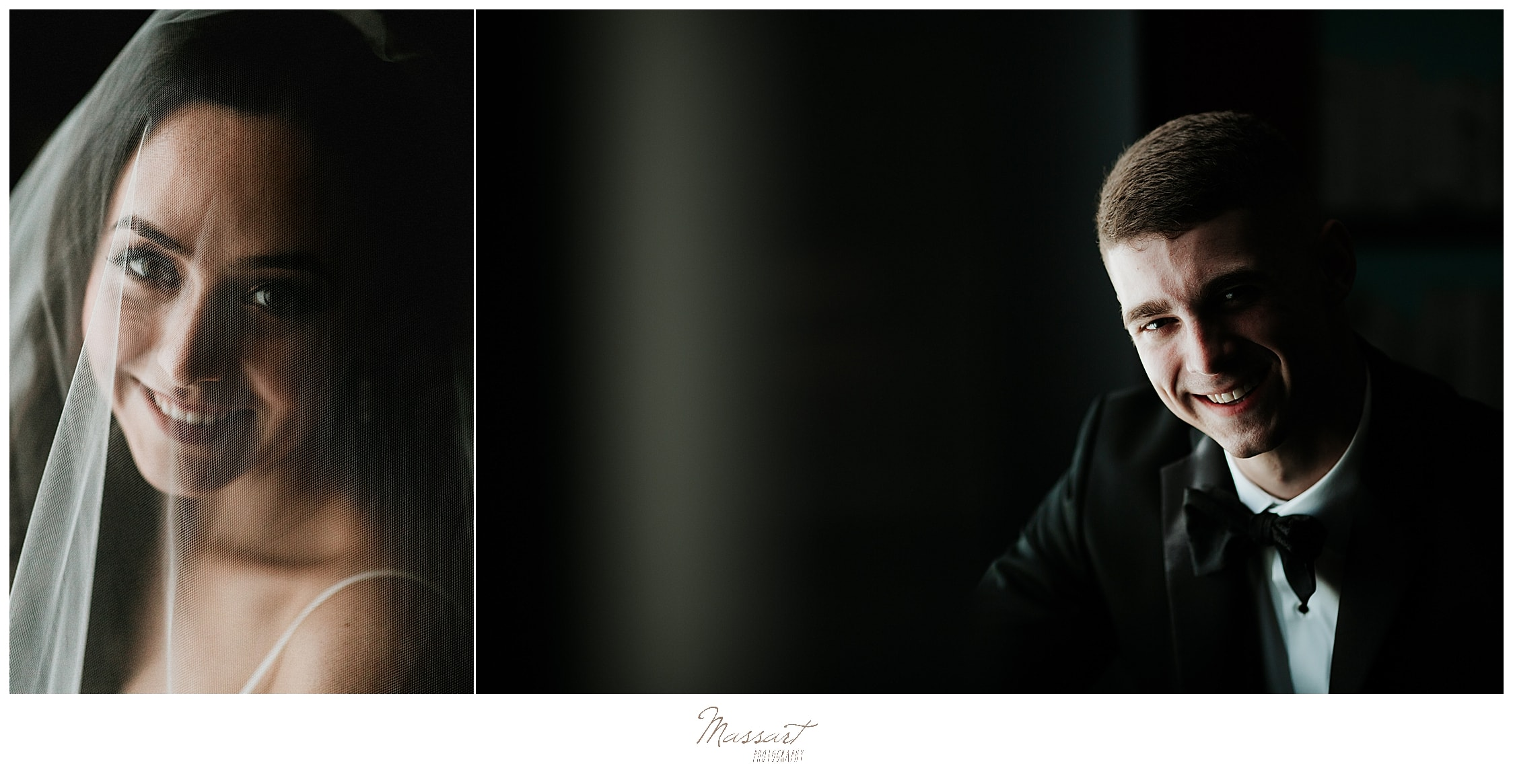 classic bridal and groom portraits by Rhode Island wedding photographers Massart Photography