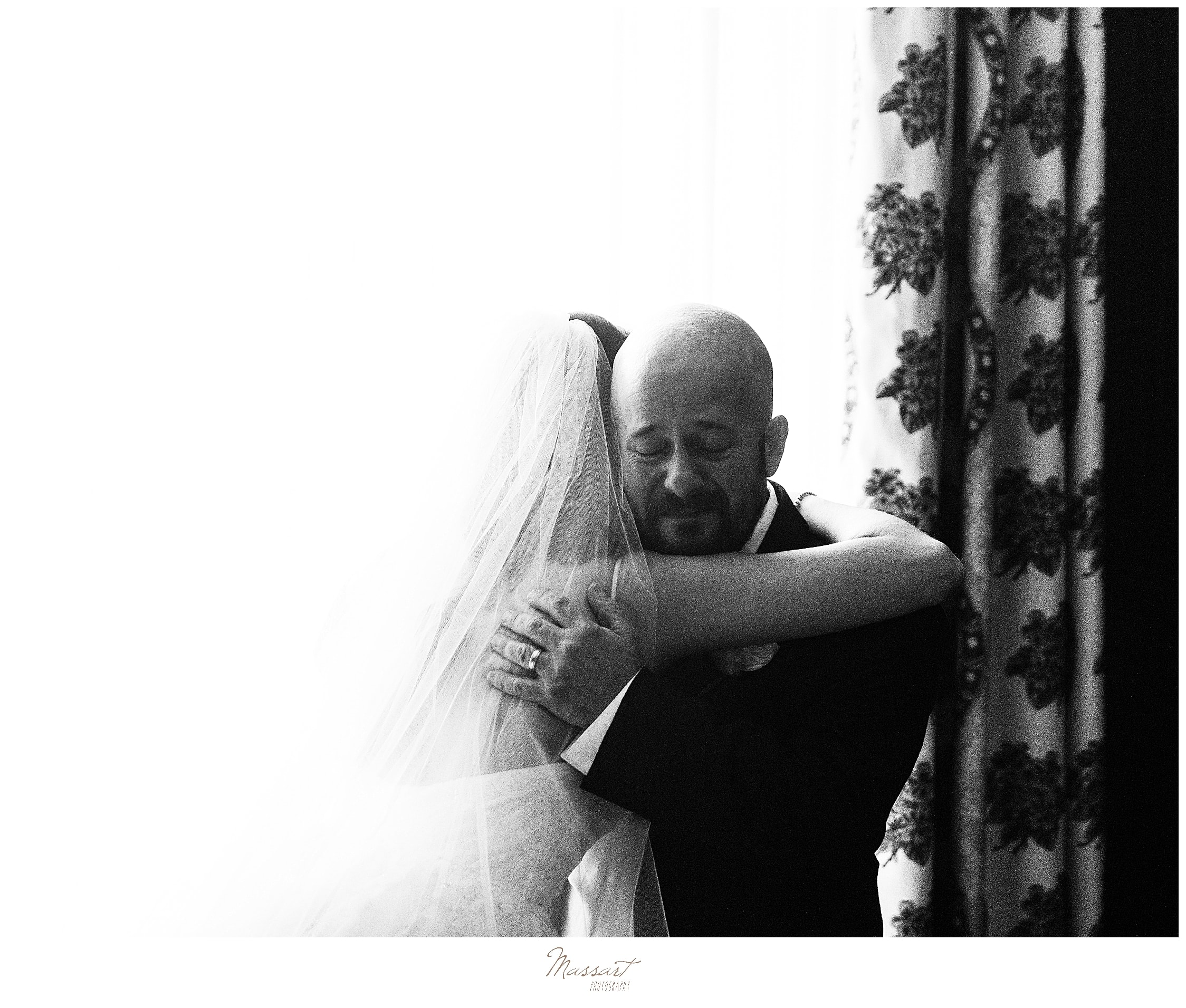 first look with father photographed by wedding photographers Massart Photography