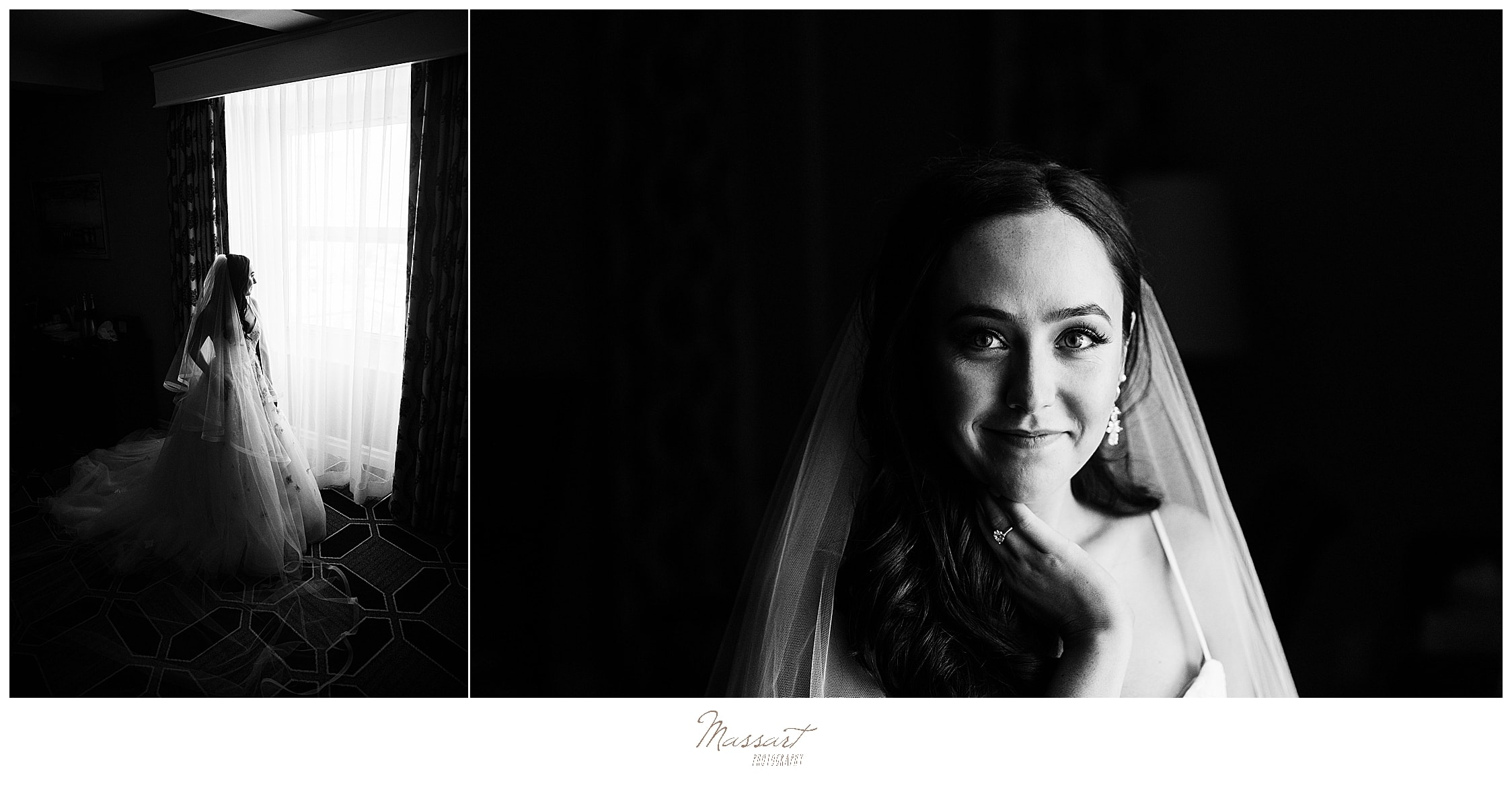 bride's portraits with veil photographed by wedding photographers Massart Photography