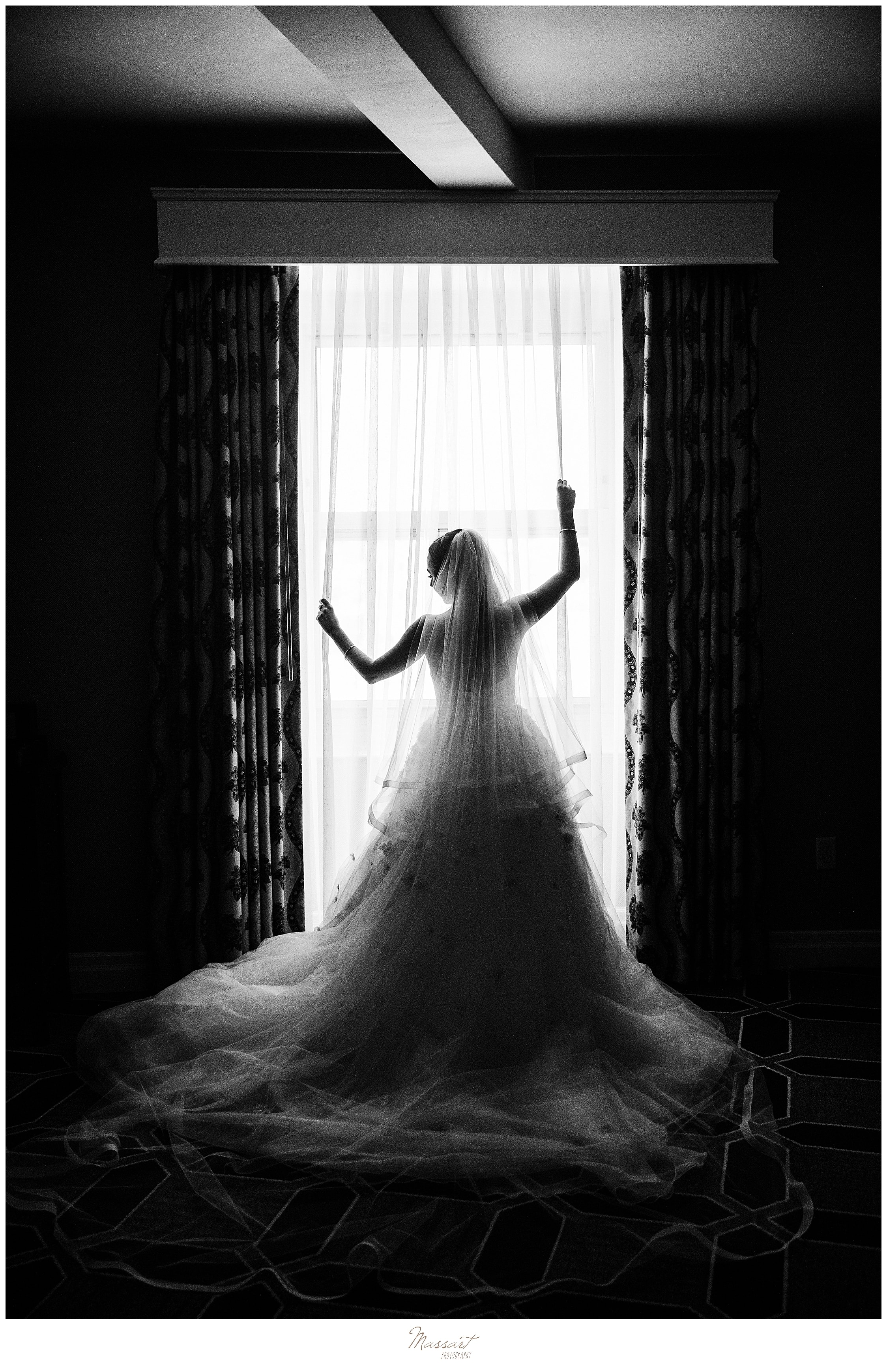 dramatic bridal portrait in Providence RI with wedding photographers Massart Photography