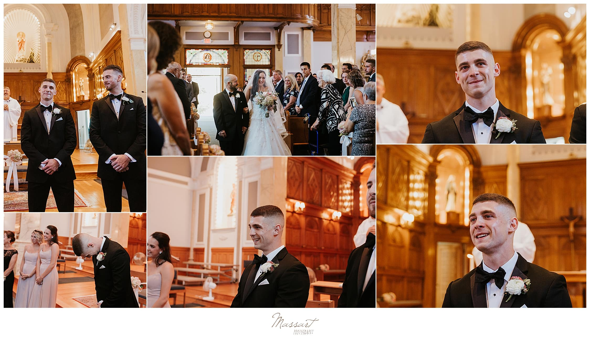 Rhode Island church ceremony by wedding photographers Massart Photography