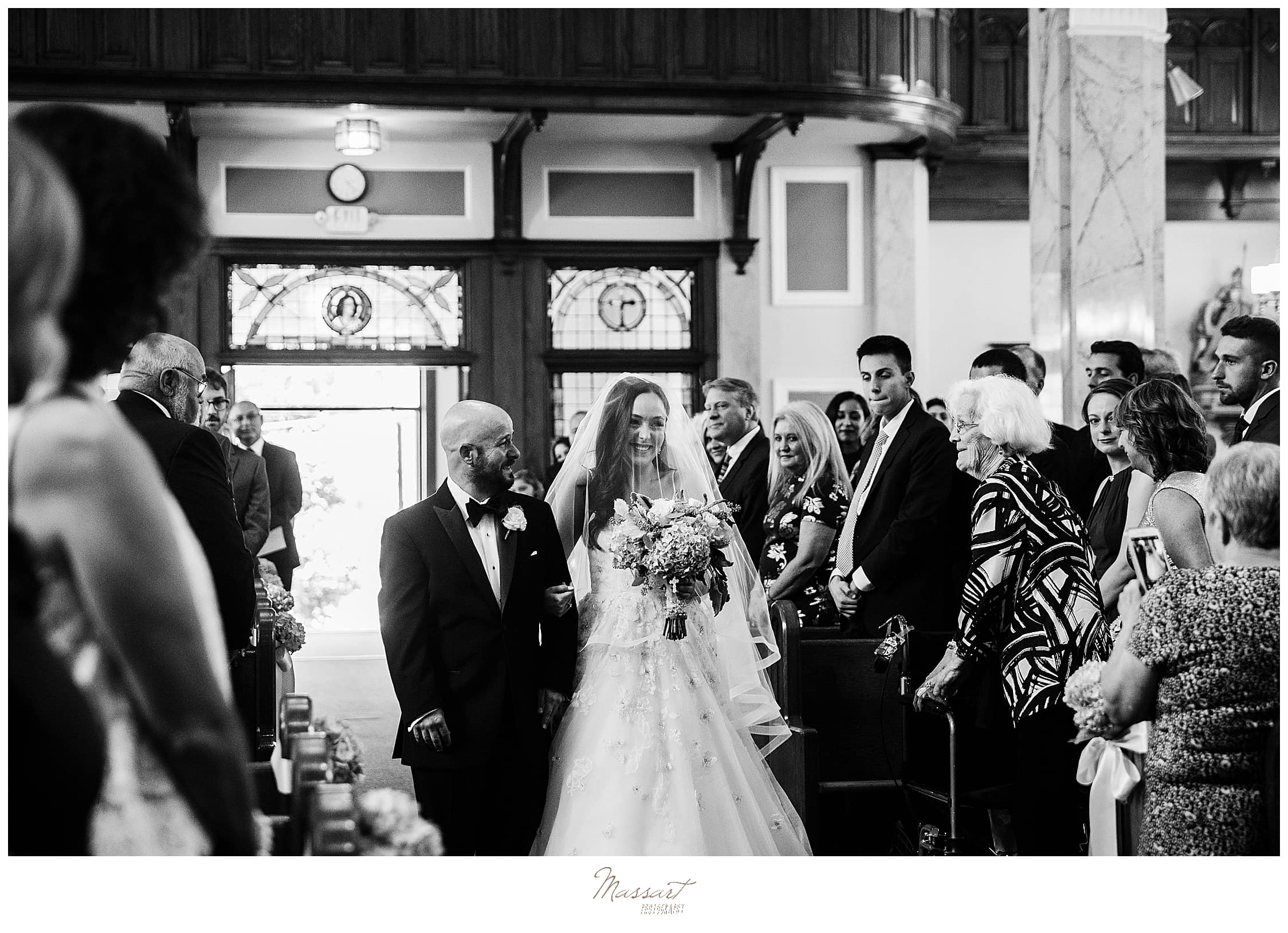 traditional church wedding in RI with wedding photographers Massart Photography