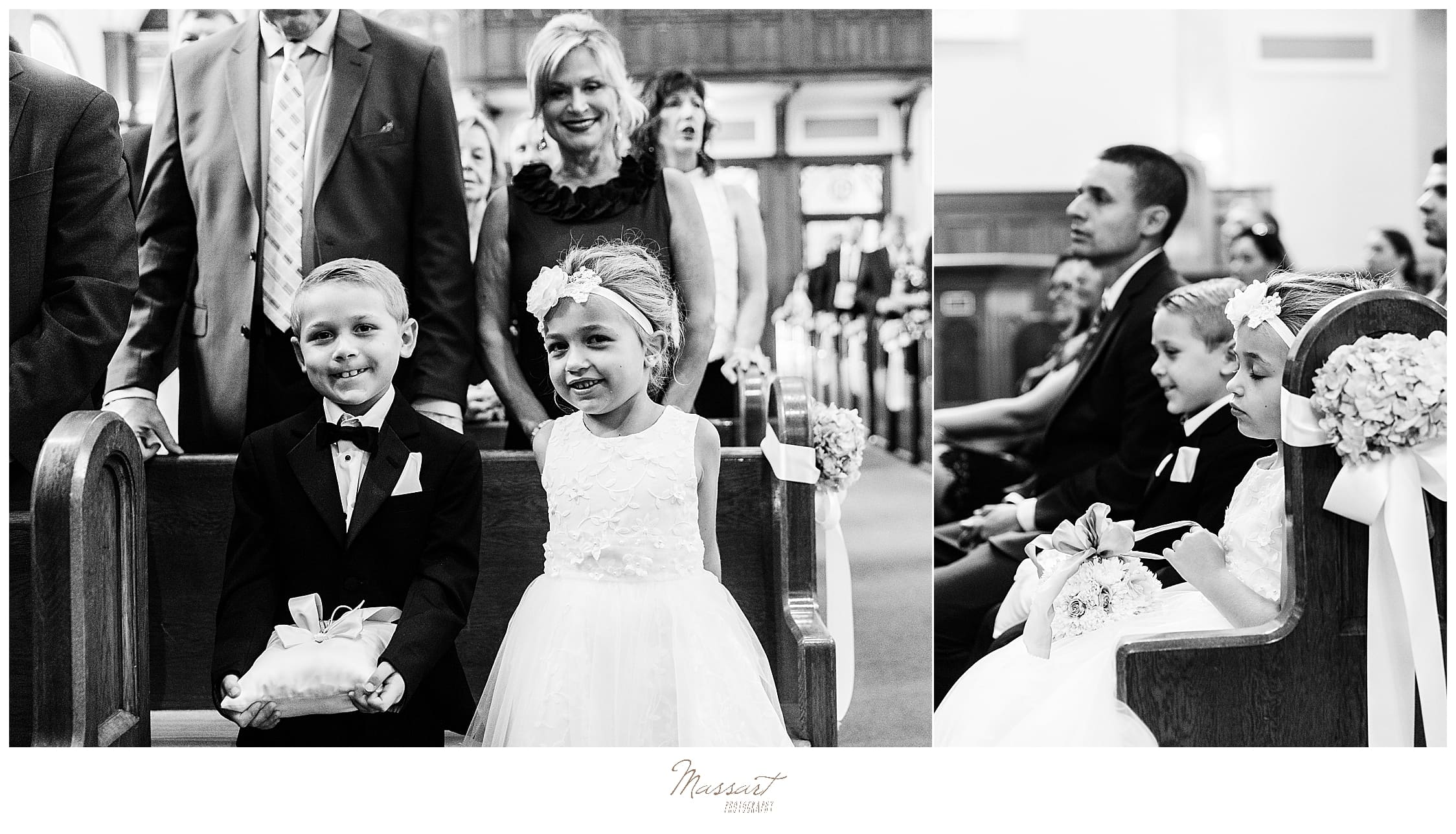 flower girl and ring bearer in church photographed by wedding photographers Massart Photography