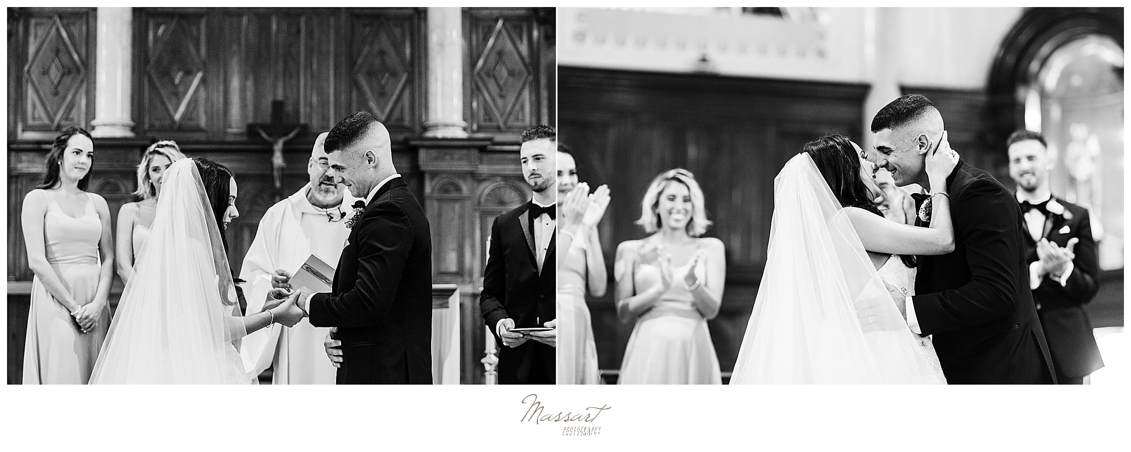 first kiss in church ceremony photographed by wedding photographers Massart Photography