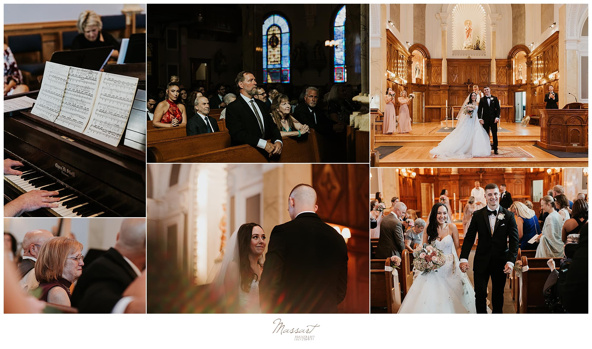 traditional church wedding ceremony photographed by wedding photographers Massart Photography