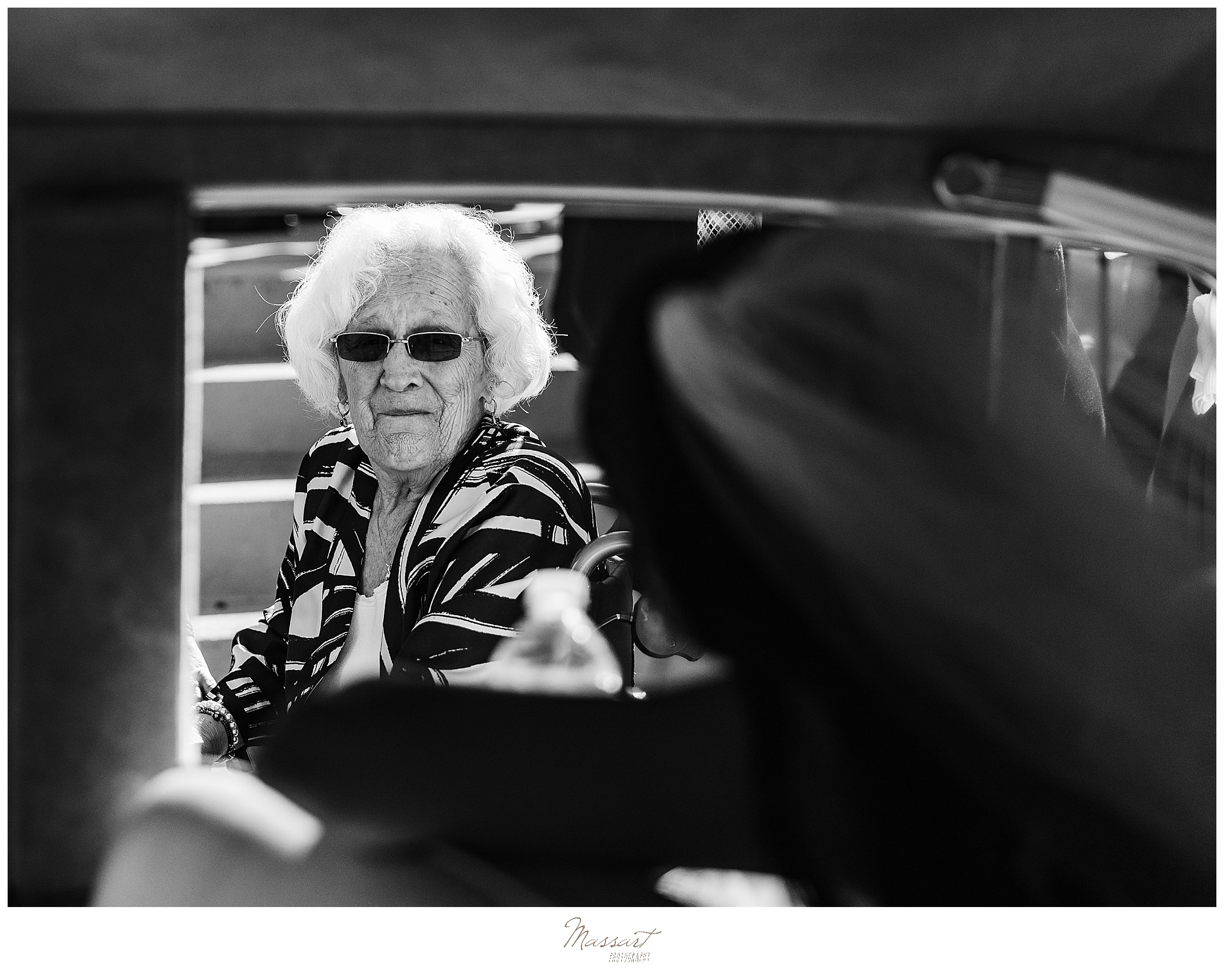 bride and grandmother outside RI wedding with wedding photographers Massart Photography