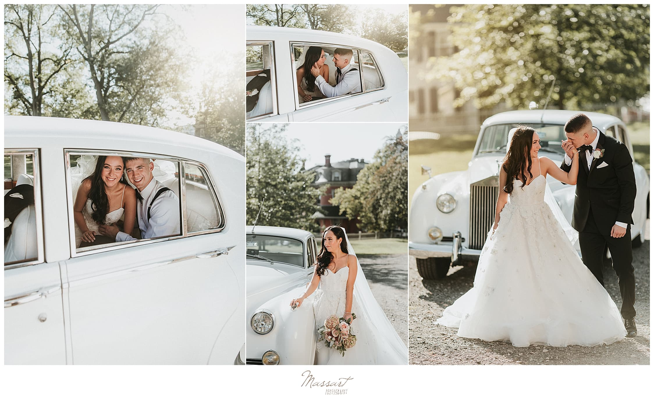 Rhode Island wedding photos with vintage car at Graduate Providence by Massart Photography