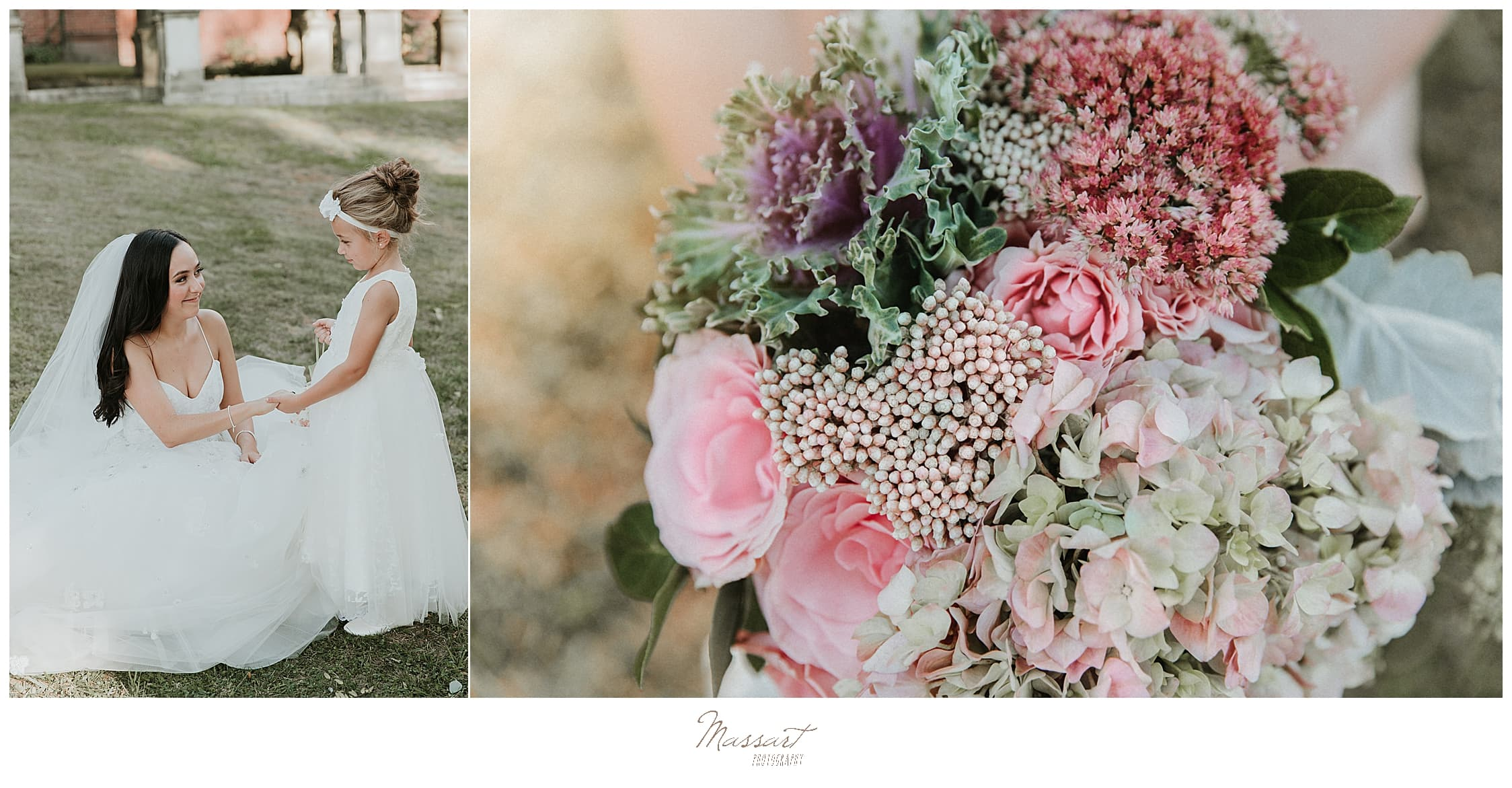 pink and ivory florals for Graduate Providence photographed by RI wedding photographers Massart Photography