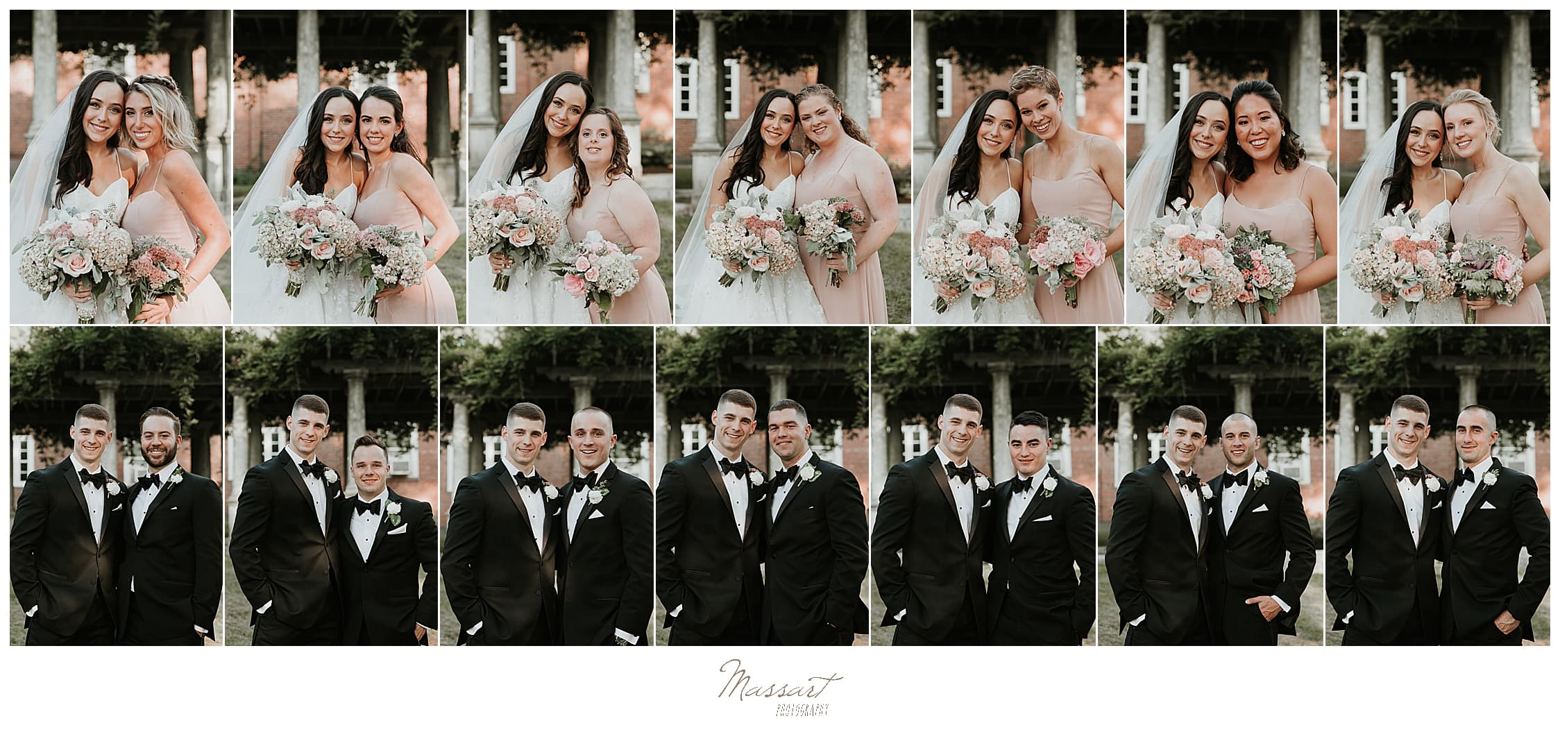 wedding party portraits by Rhode Island wedding photographers Massart Photography