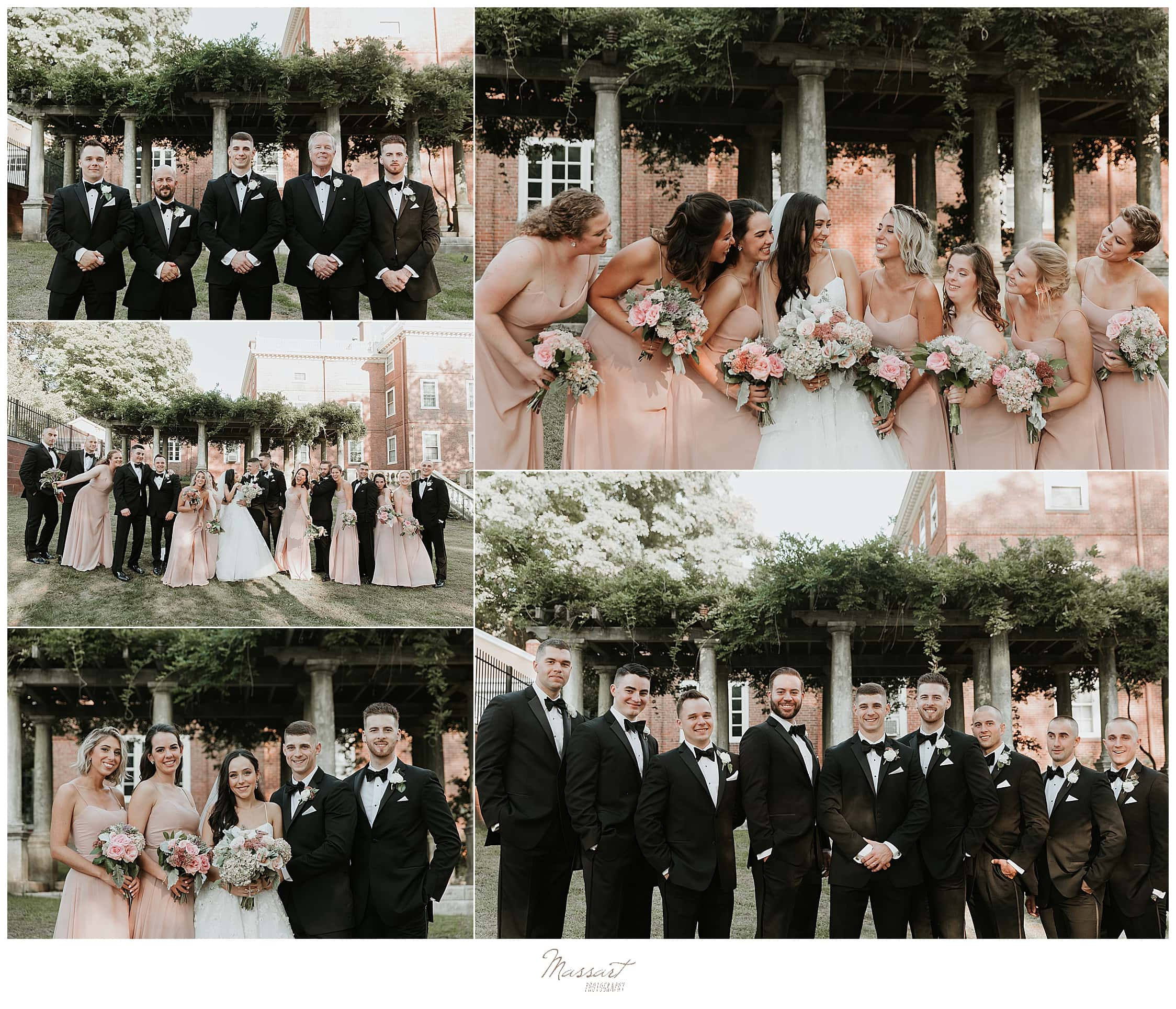 classic wedding party portraits by Rhode Island wedding photographers Massart Photography