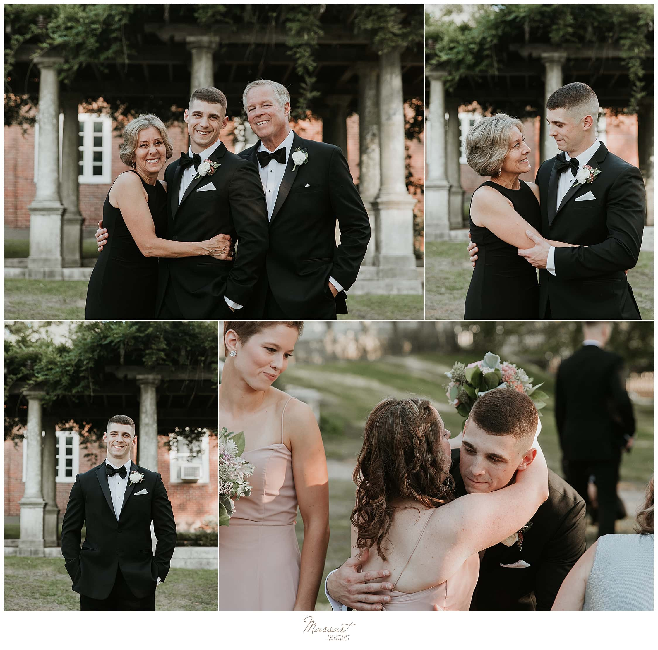 family wedding portraits by RI wedding photographers Massart Photography