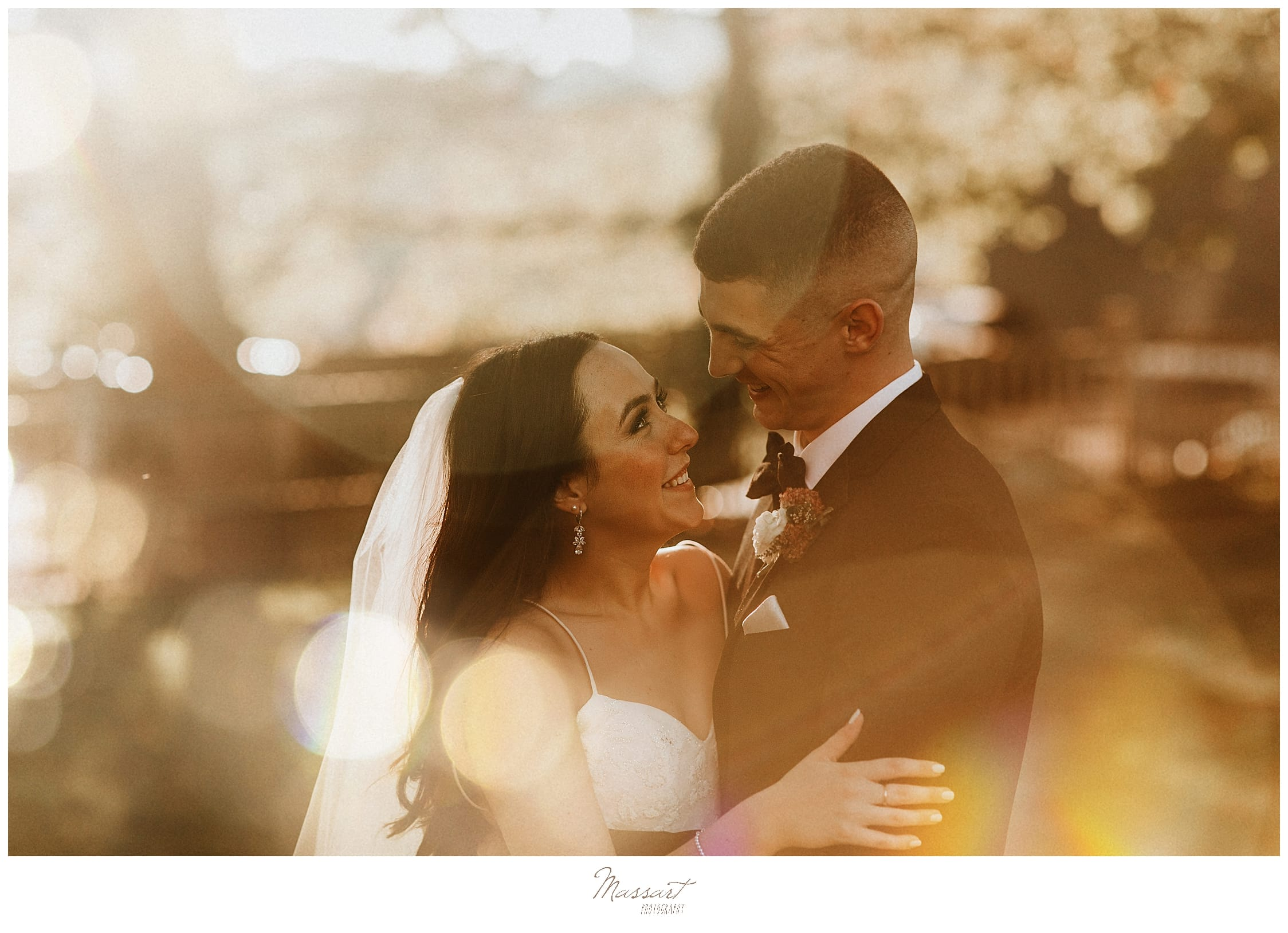 sunset wedding portraits by wedding photographers Massart Photography