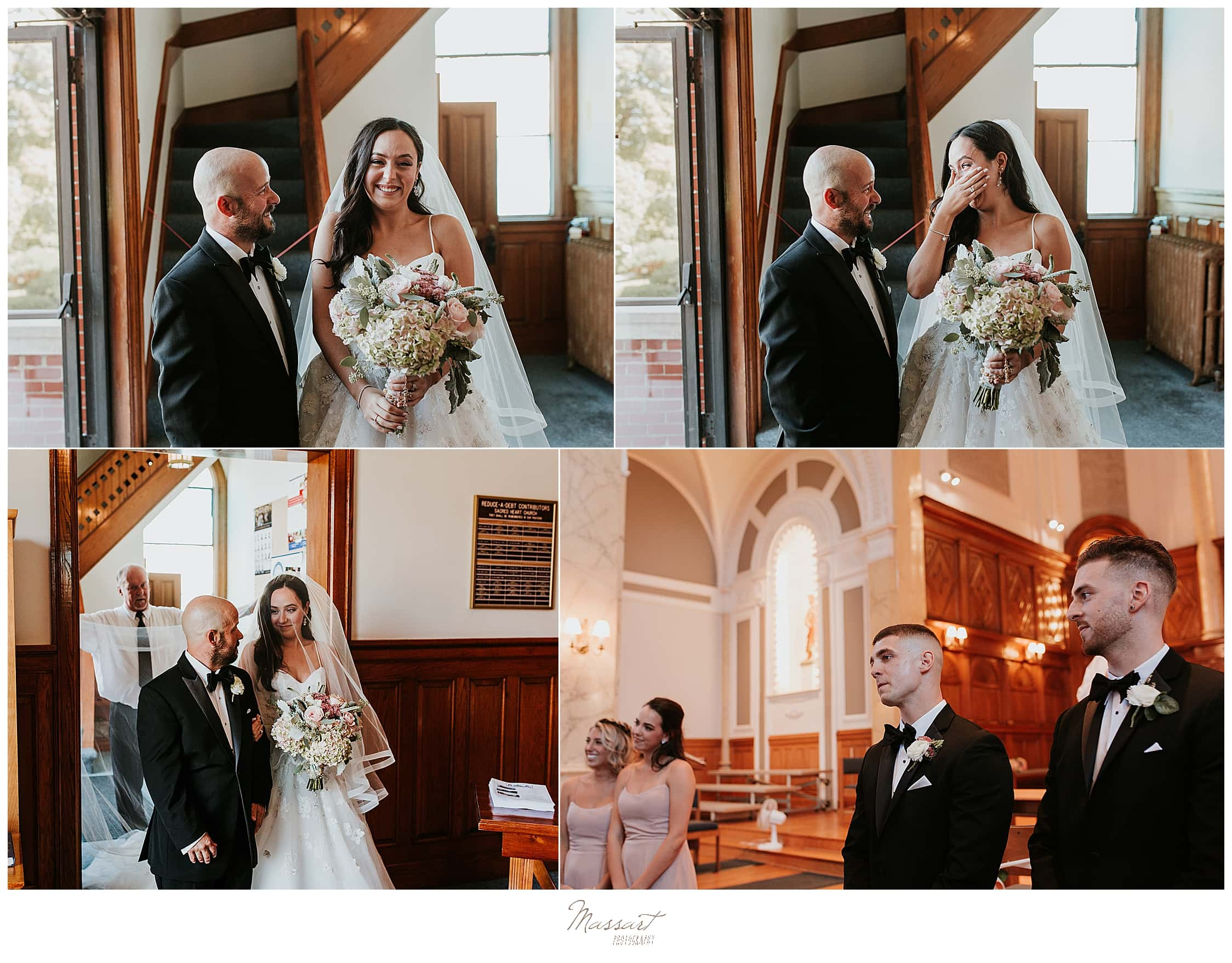 traditional church wedding in Rhode Island with RI wedding photographers Massart Photography