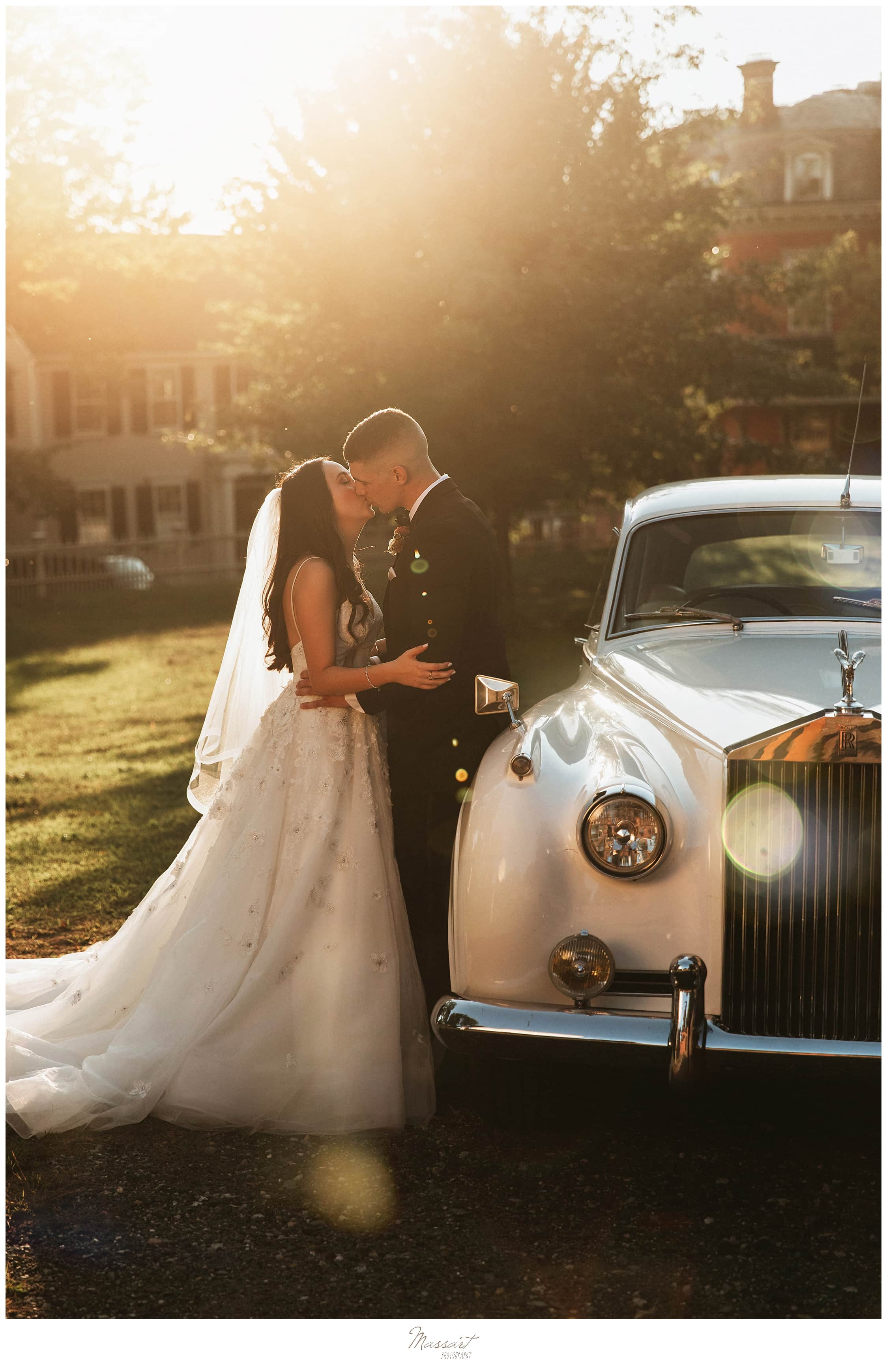 wedding portraits with classic car photographed by New England wedding photographers Massart Photography