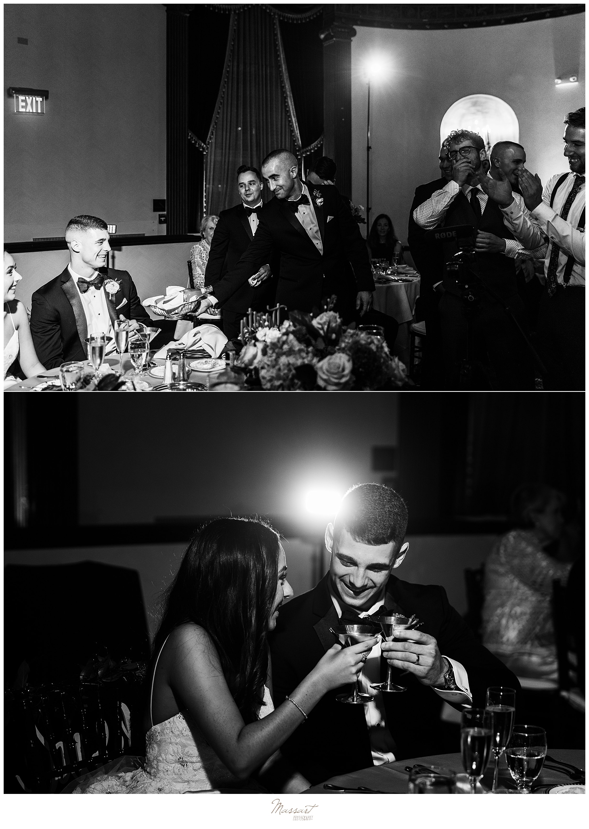 wedding reception toasts photographed by wedding photographers Massart Photography