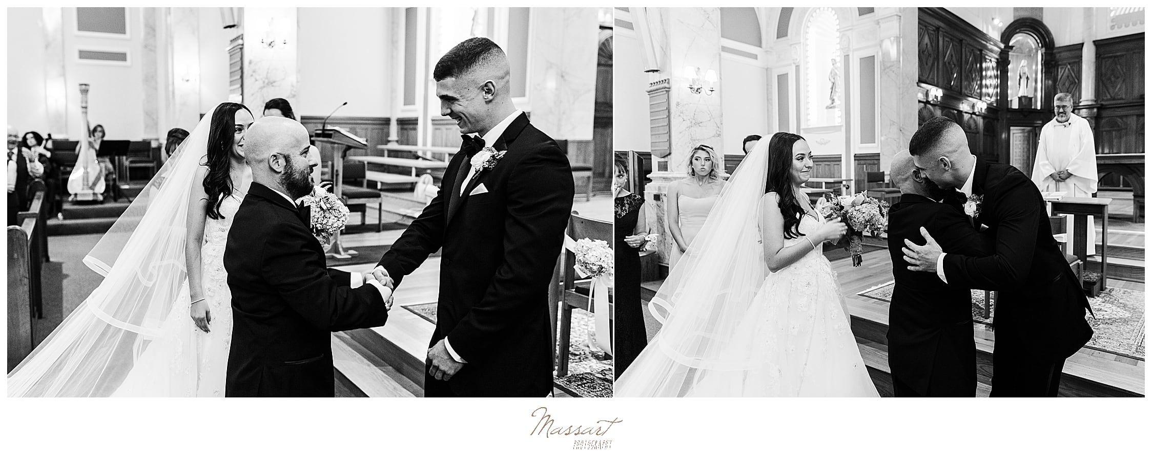 Rhode Island wedding ceremony in church with RI wedding photographers Massart Photography
