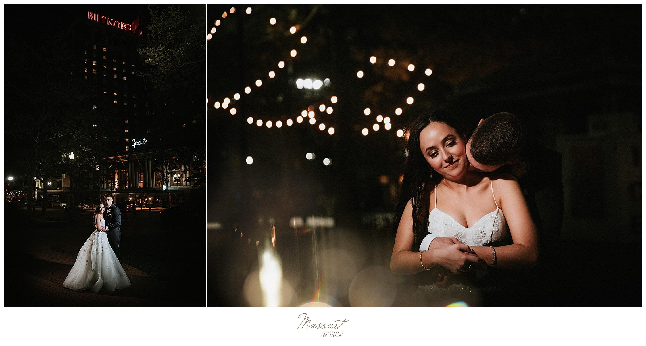 nighttime wedding portraits by RI wedding photographers Massart Photography
