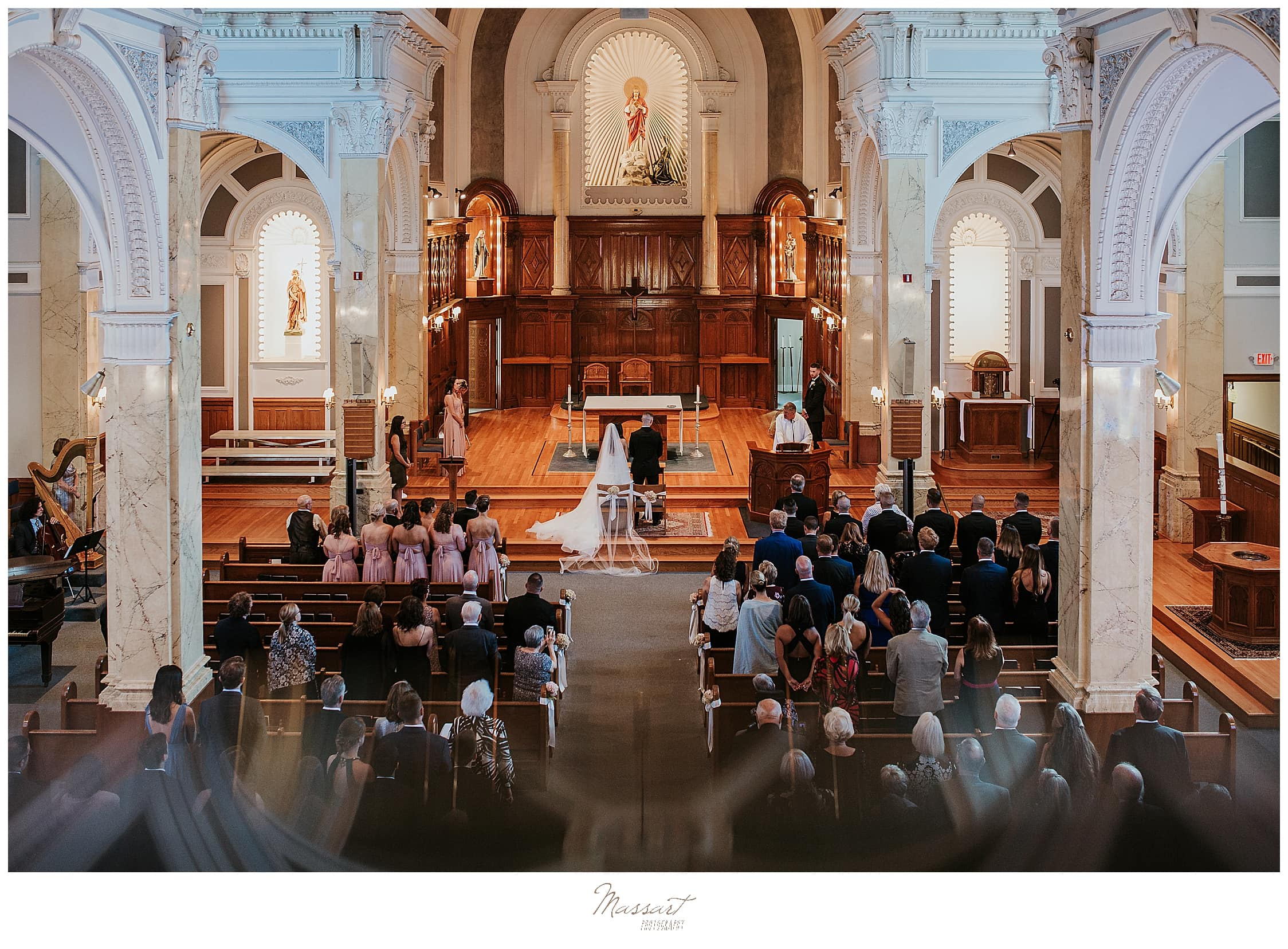 traditional church wedding photographed by RI wedding photographers Massart Photography