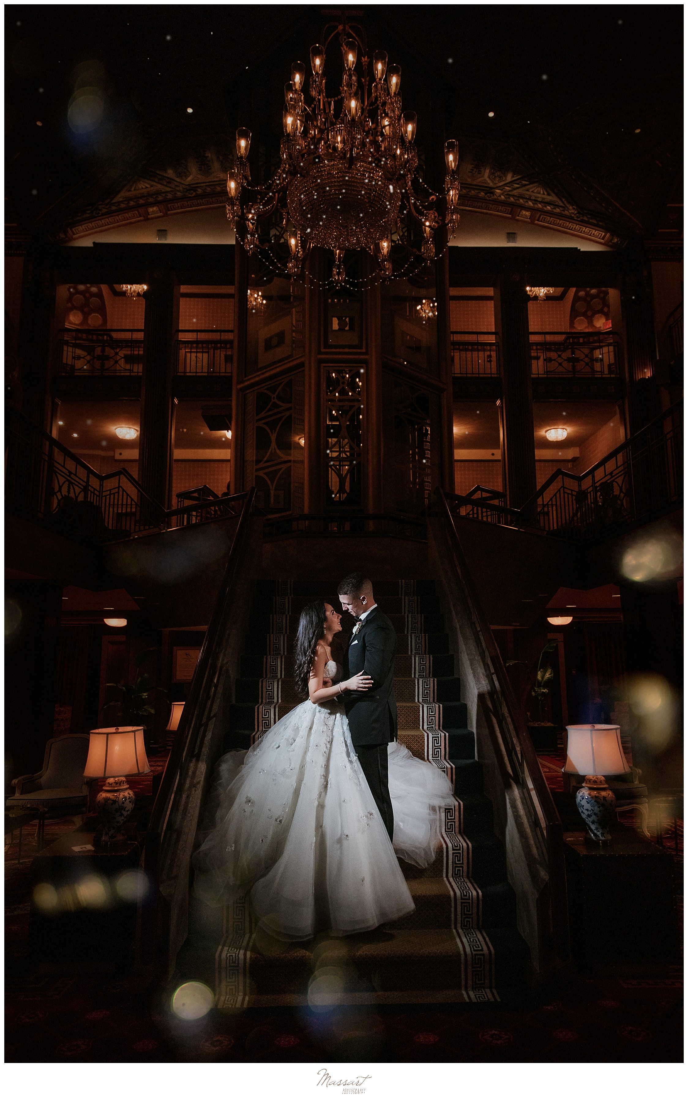 nighttime wedding portraits at Graduate Providence with wedding photographers Massart Photography