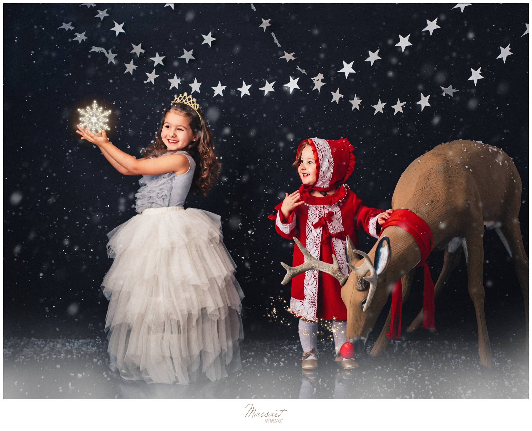 Holiday sessions with Rudolph and snow at Massart Photography in Rhode Island servicing RI and CR