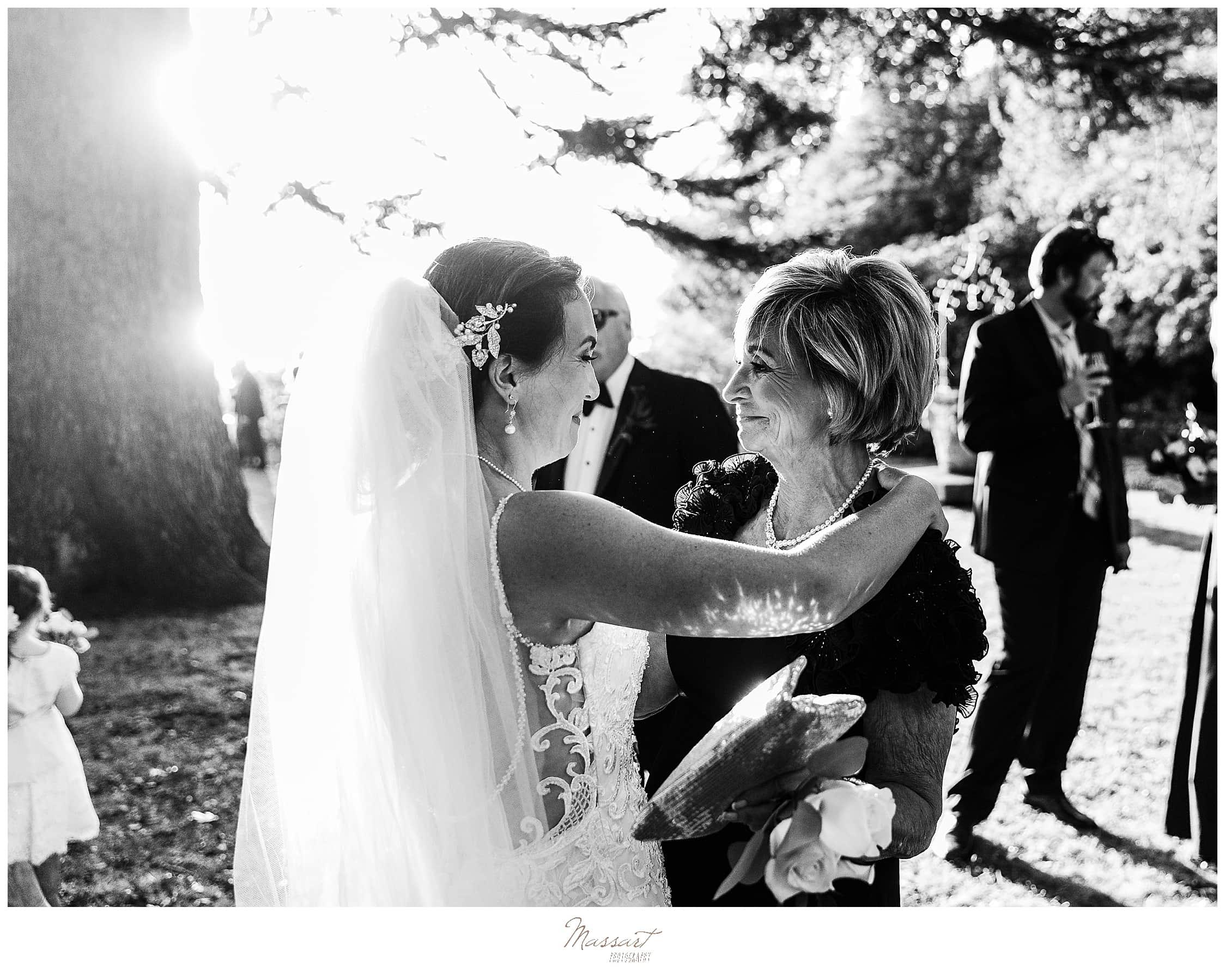bride looking at mother of bride