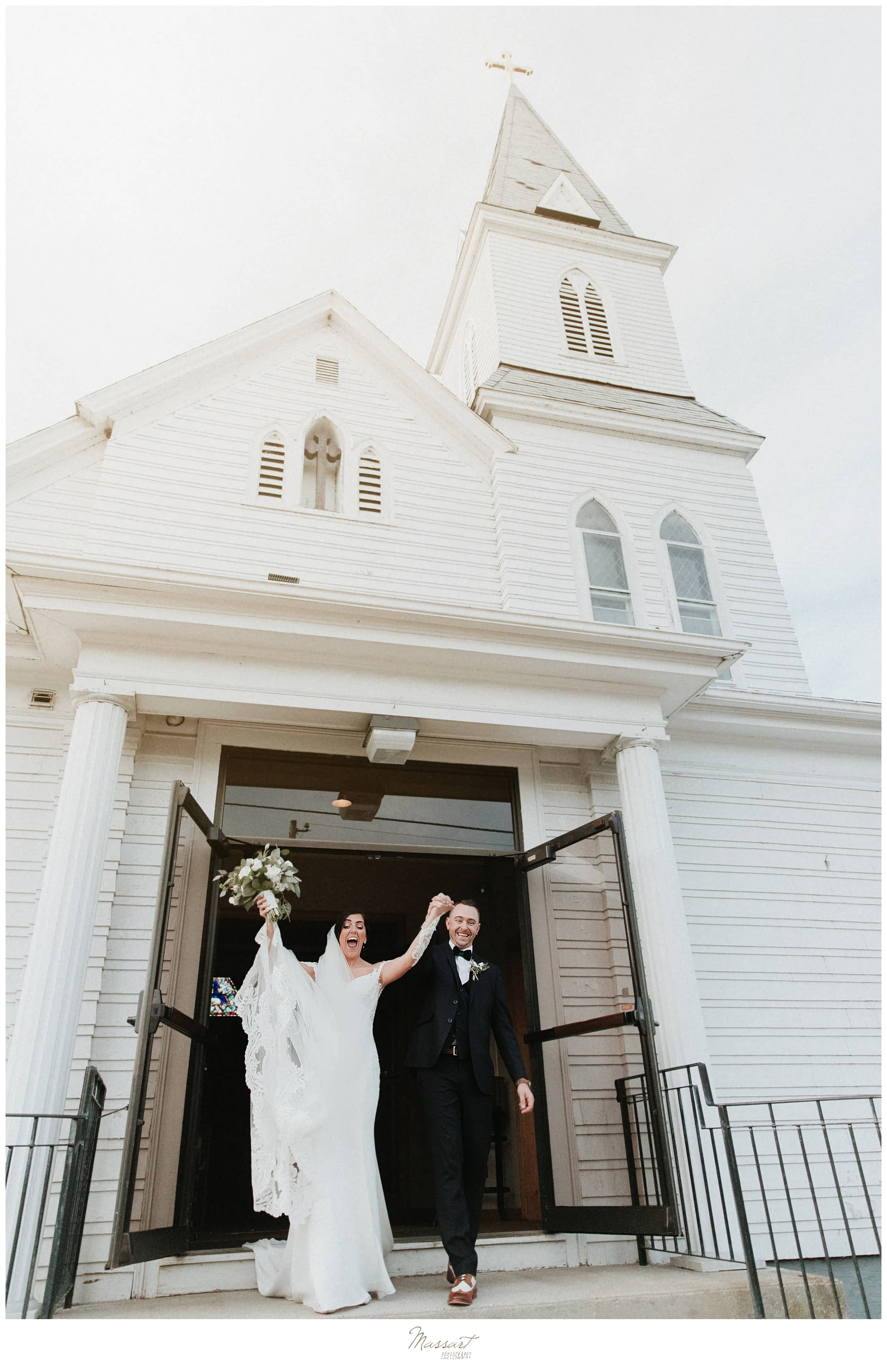 Massart Photography captures bride and groom leaving church in MA