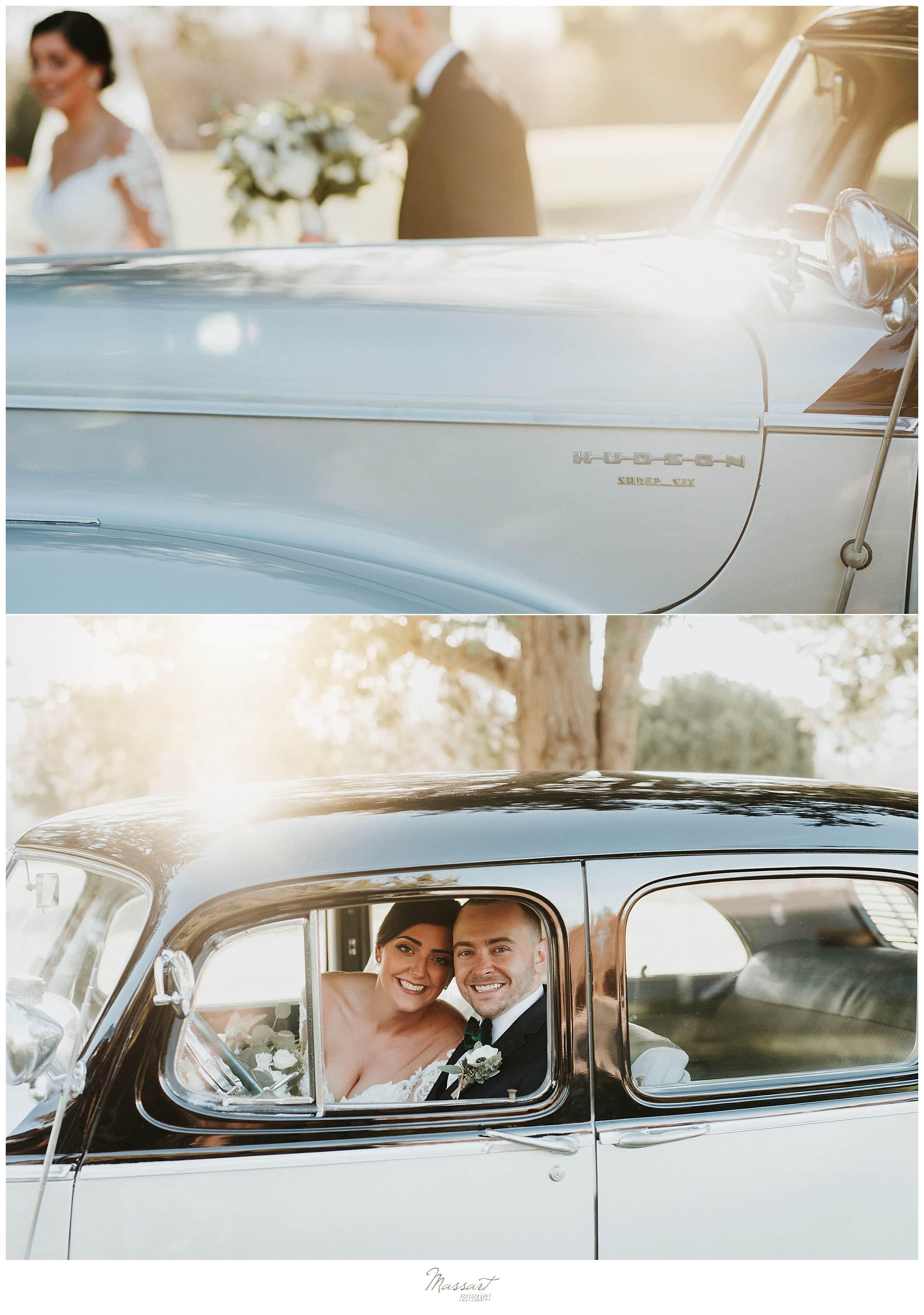 classic car wedding portraits by Massart Photography