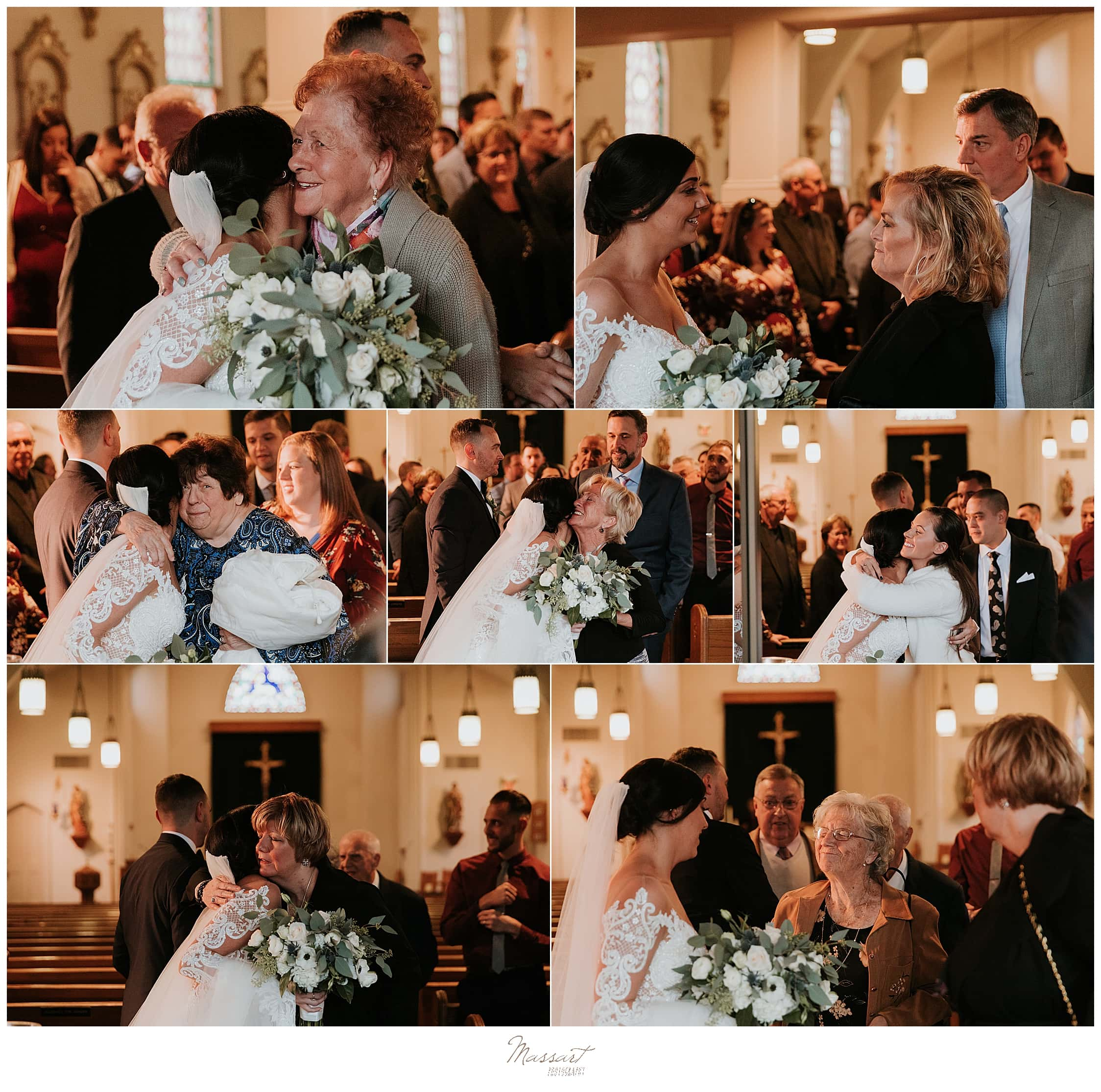 bride and groom greet guests leaving church photographed by Massart Photography