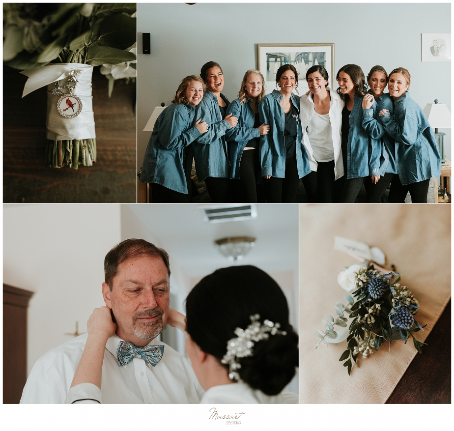 bridesmaids and bride prepare for MA wedding with Massart Photography