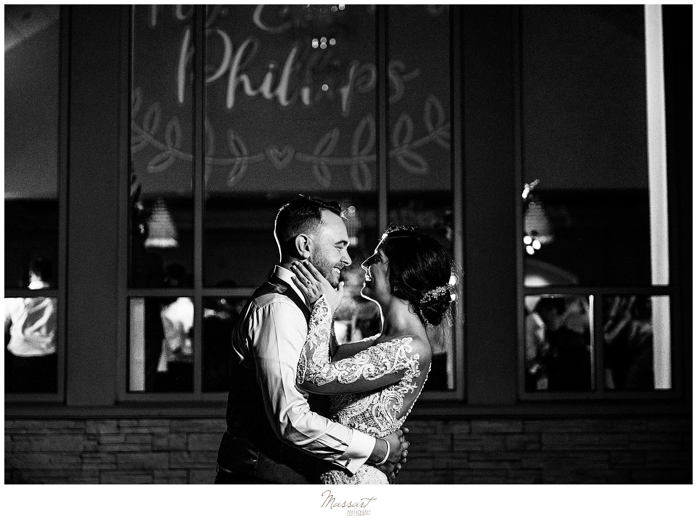 nightime wedding portraits in Foxboro MA with Massart Photography