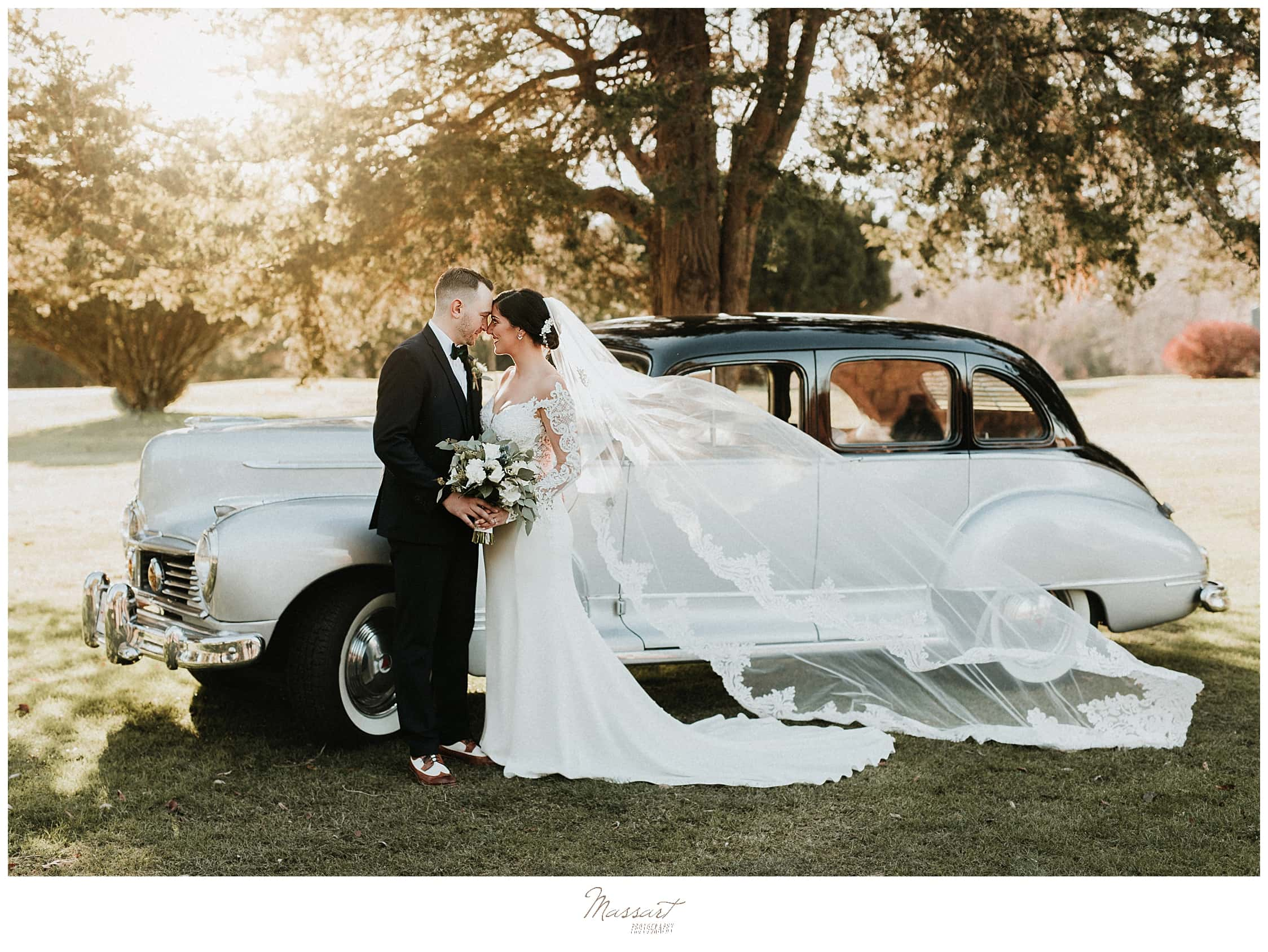 classic wedding portraits with classic car by Massart Photography