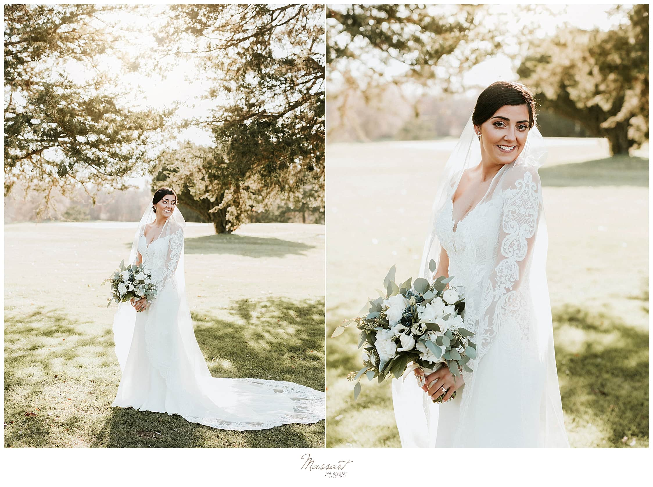 fall bridal portraits with lace gown photographed by Massart Photography
