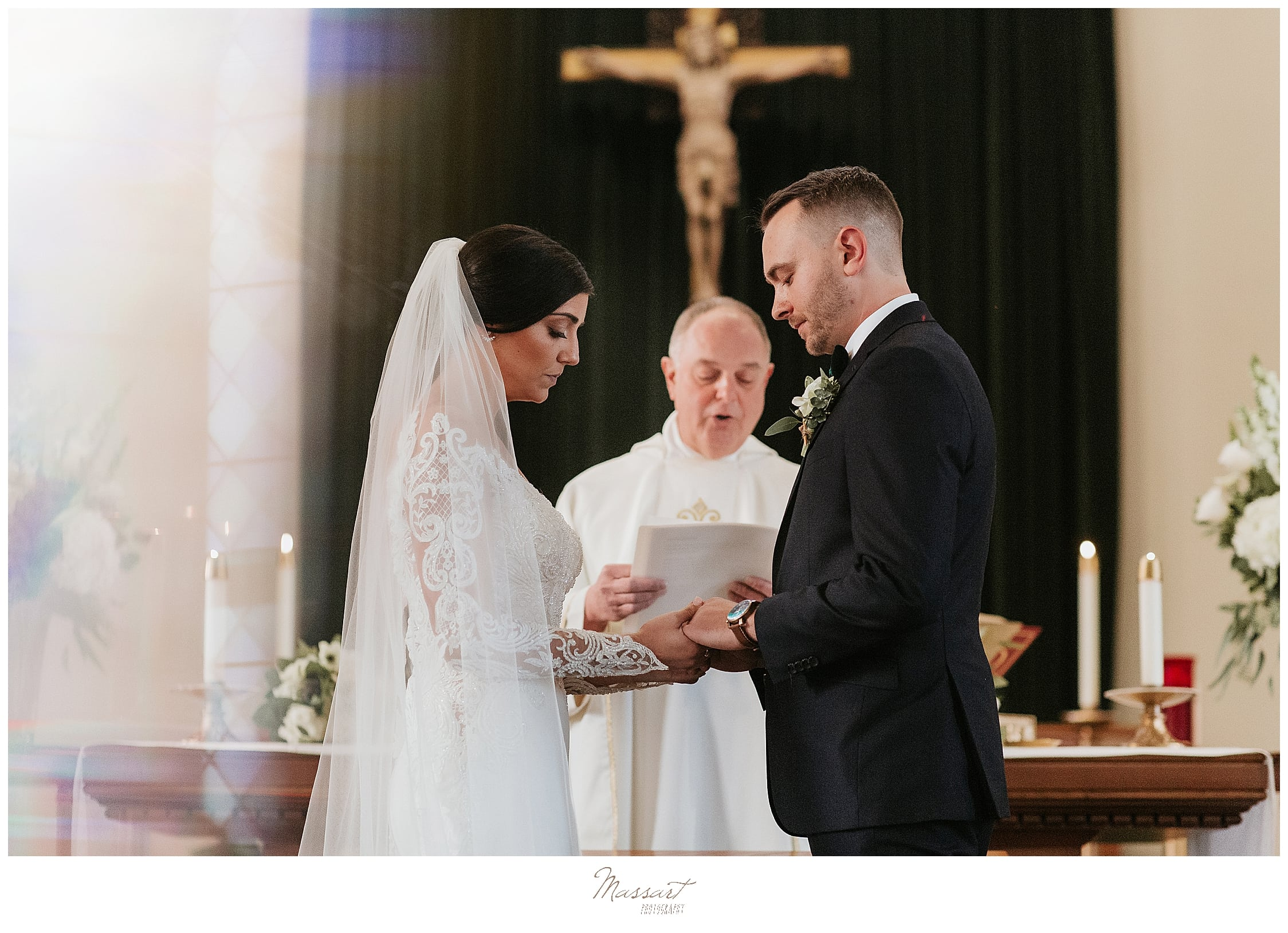 church wedding ceremony photographed by MA wedding photographers Massart Photography