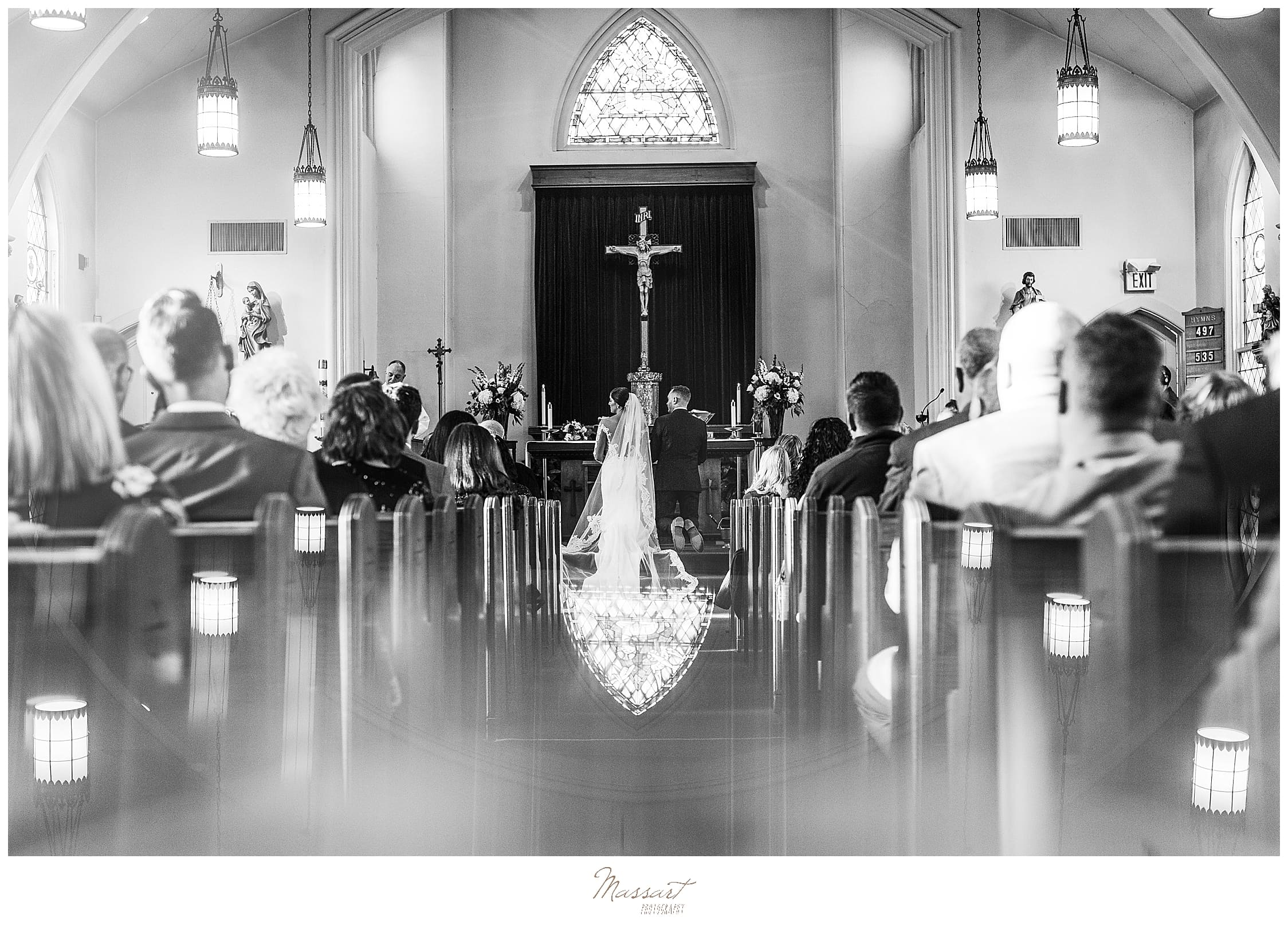 wedding ceremony in traditional church photographed by RI, CT, MA wedding photographers Massart Photography