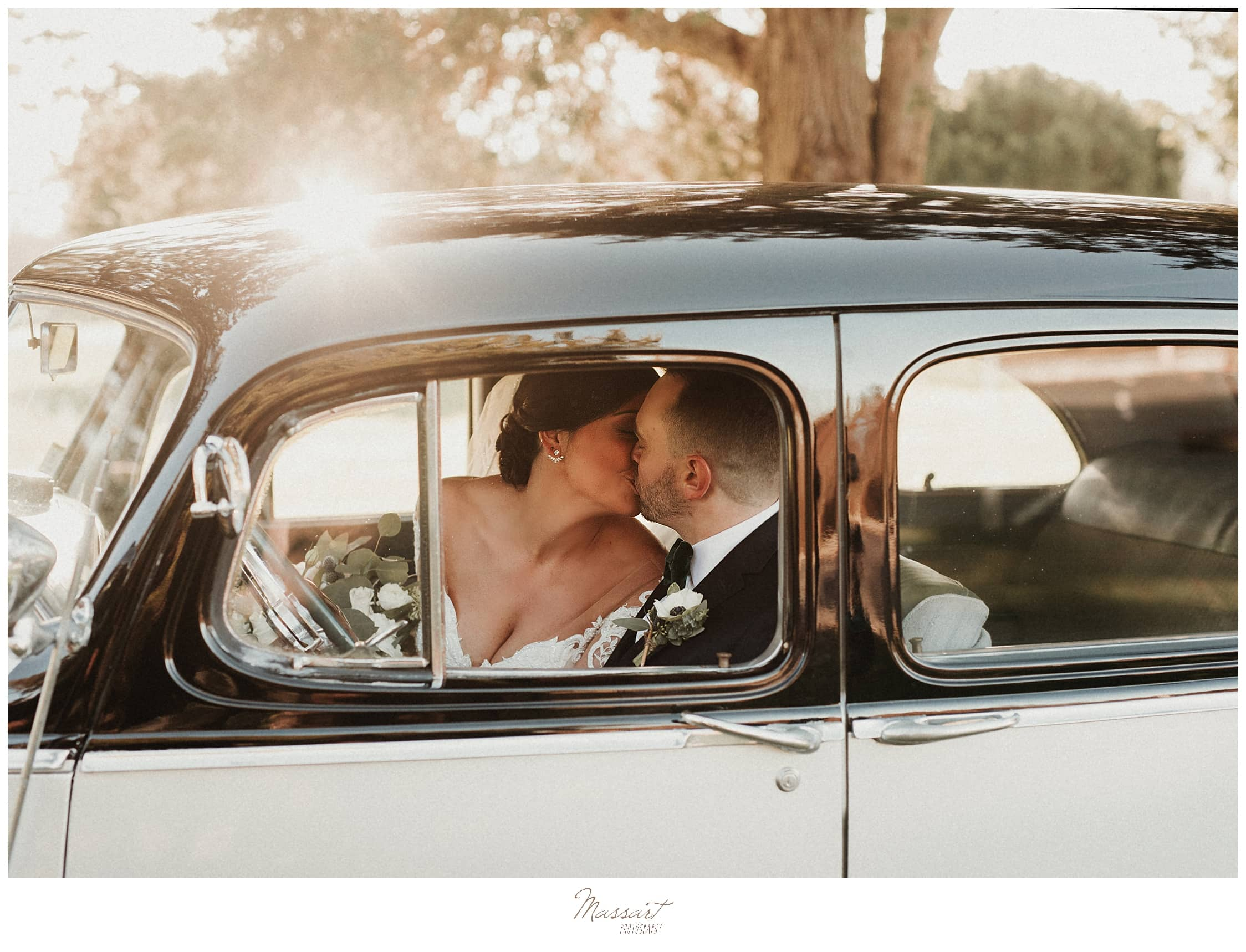 wedding portraits in classic car with Massart Photography