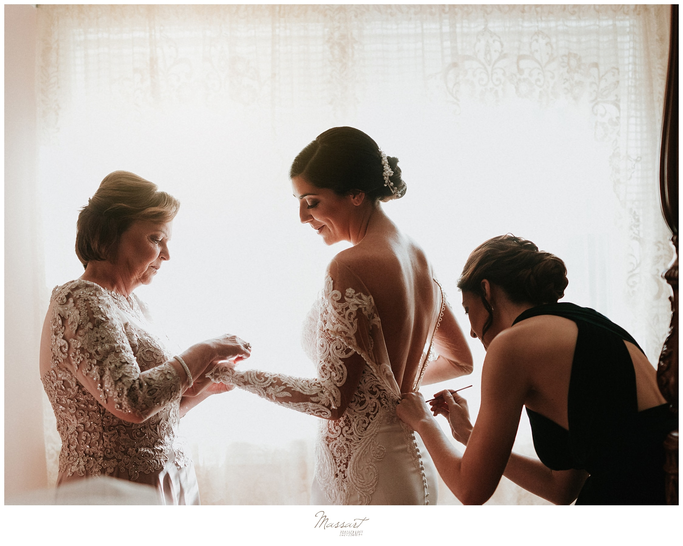 bride prepares for wedding day with MA wedding photographer Massart Photography